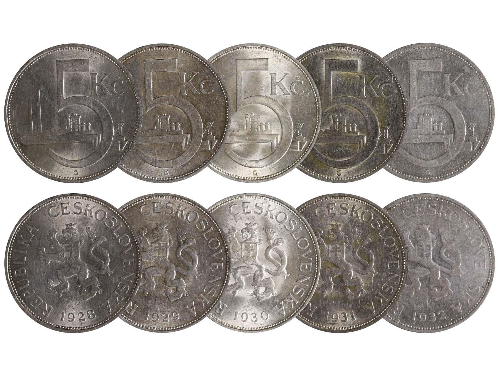 ČSR 1918-1938 - 5 Koruna 1928, 1929, 1930, 1931 a 1932, N9