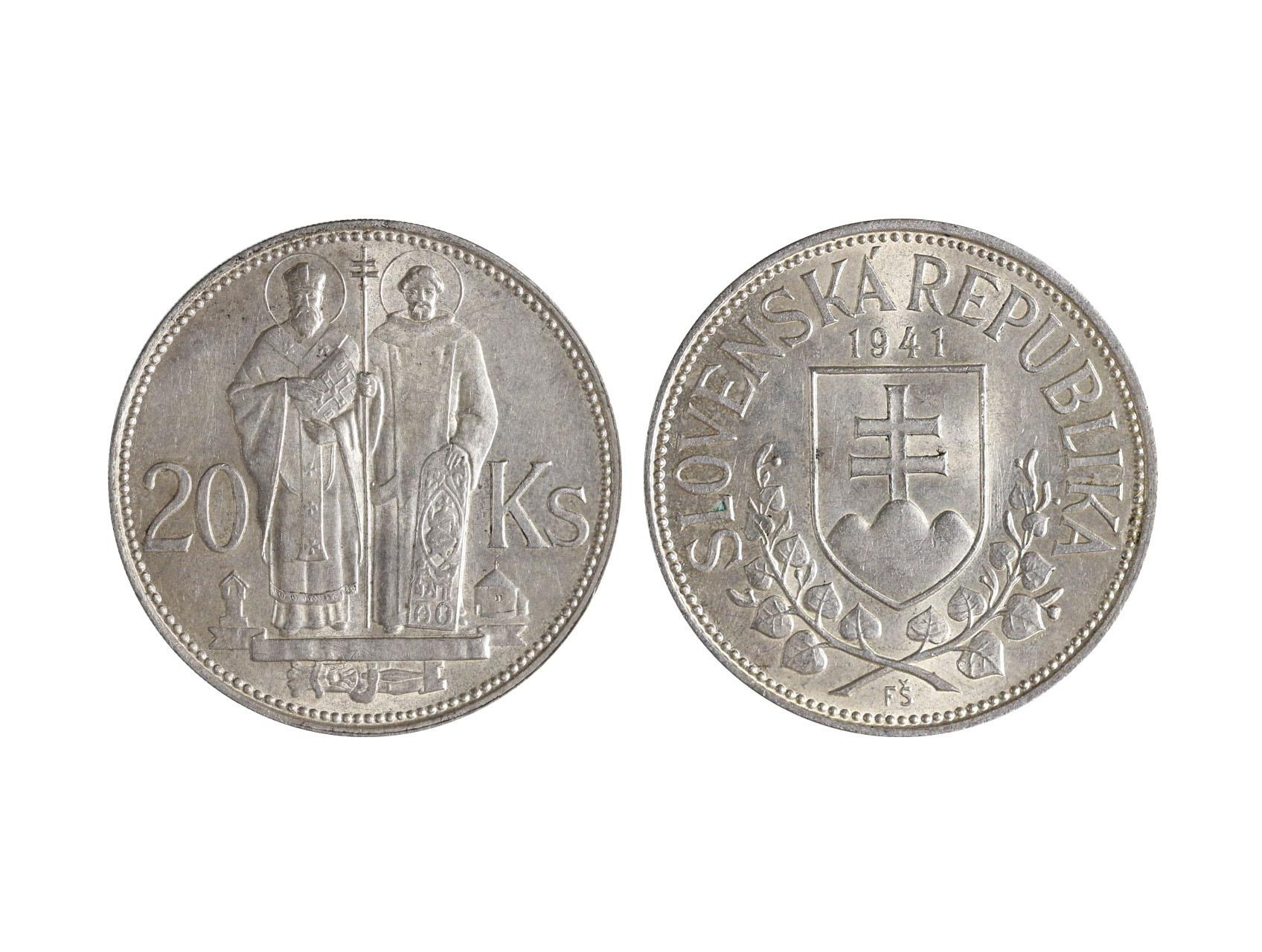 Slovenská Republika 1939-1945 - 20 Koruna 1941 zkušební ražba na magnetickém střižku Ag - Cu - Zn - Ni, 14,97 g