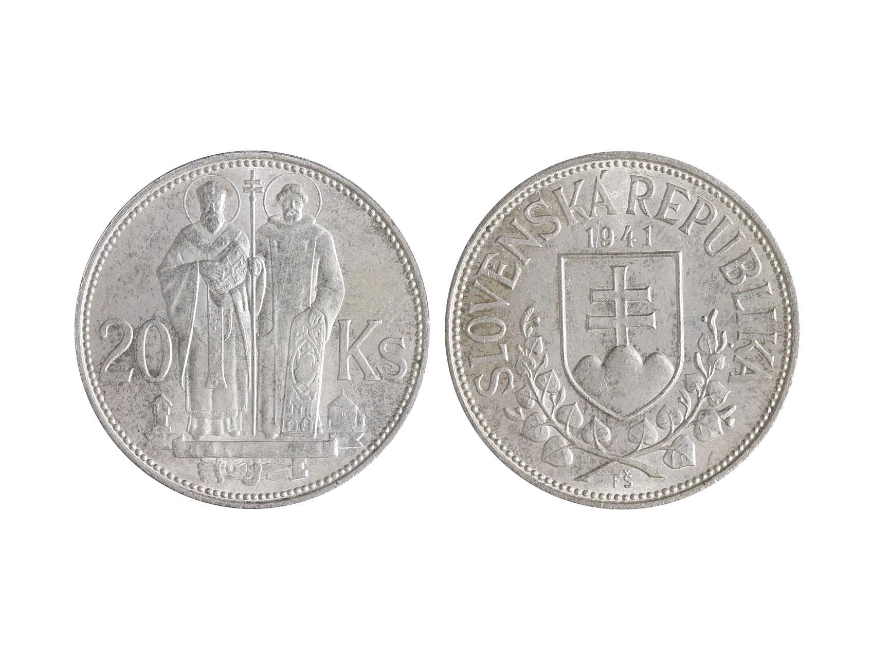 Slovenská Republika 1939-1945 - 20 Koruna 1941 varianta dvojkríž, N33v