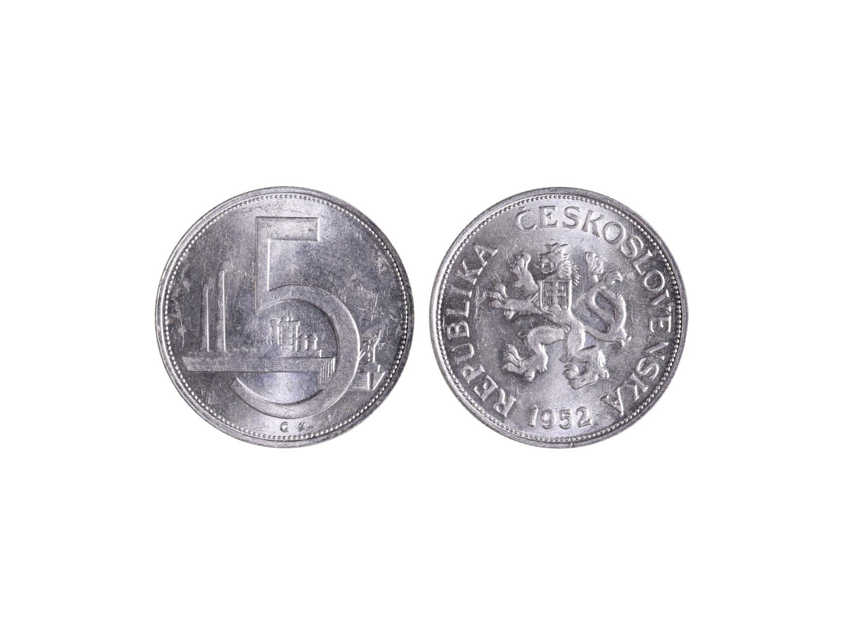 ČSSR 1945-1953 - 5 Kčs 1952 originál, Al, bezvadný stav, N42a