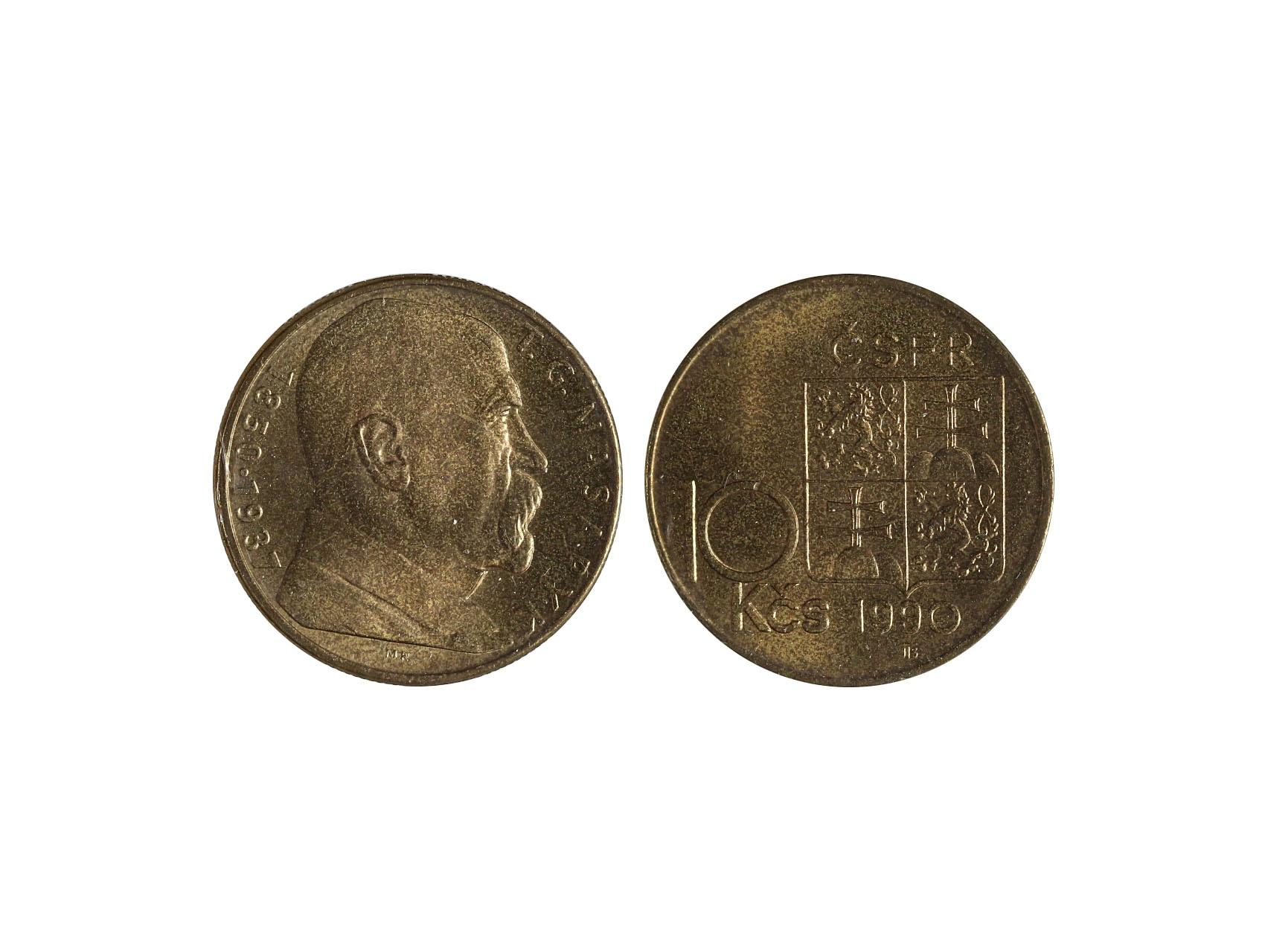 ČSSR 1953-1992 - 10 Kčs 1990 varianta iniciál MR typ A, původní balení fy. Cabet, číslové 00880, N83e