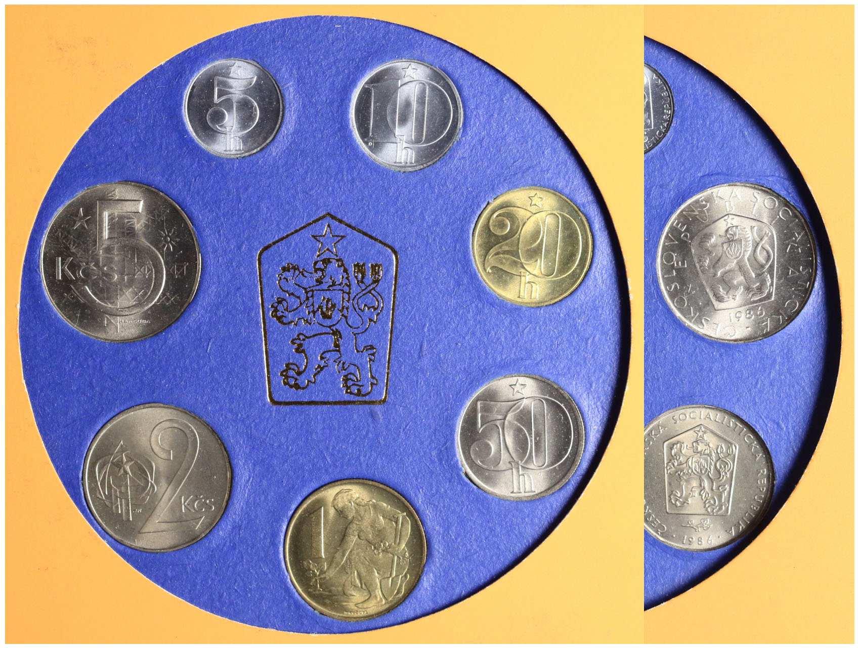 ČSSR 1953-1992 - Sada oběžných mincí 1986 v původním obalu