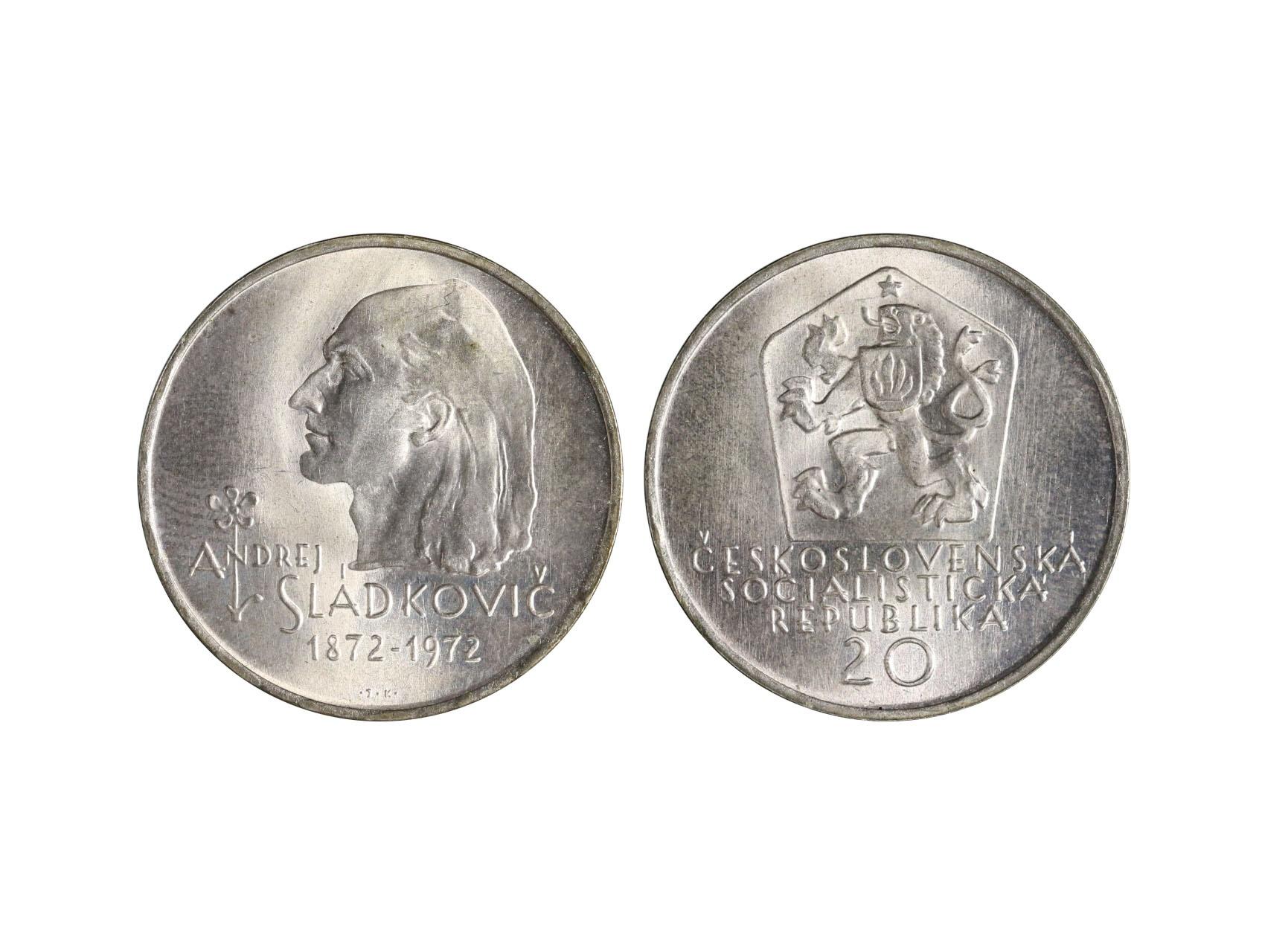 ČSSR 1953-1992 - 20 Kčs 1972 100.výročí básníka Andreje Sládkoviča varianta s výrazným licousem