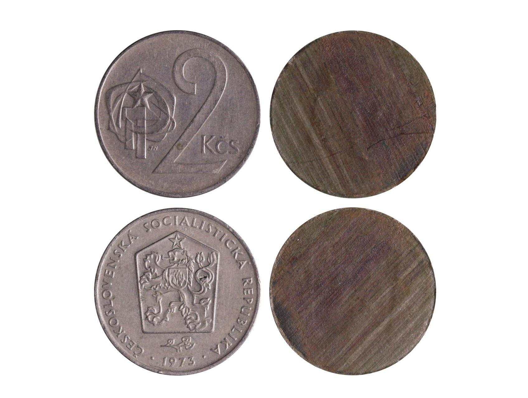 Chyboražba, 2 Koruna 1973 prasklý střižek na dvě části