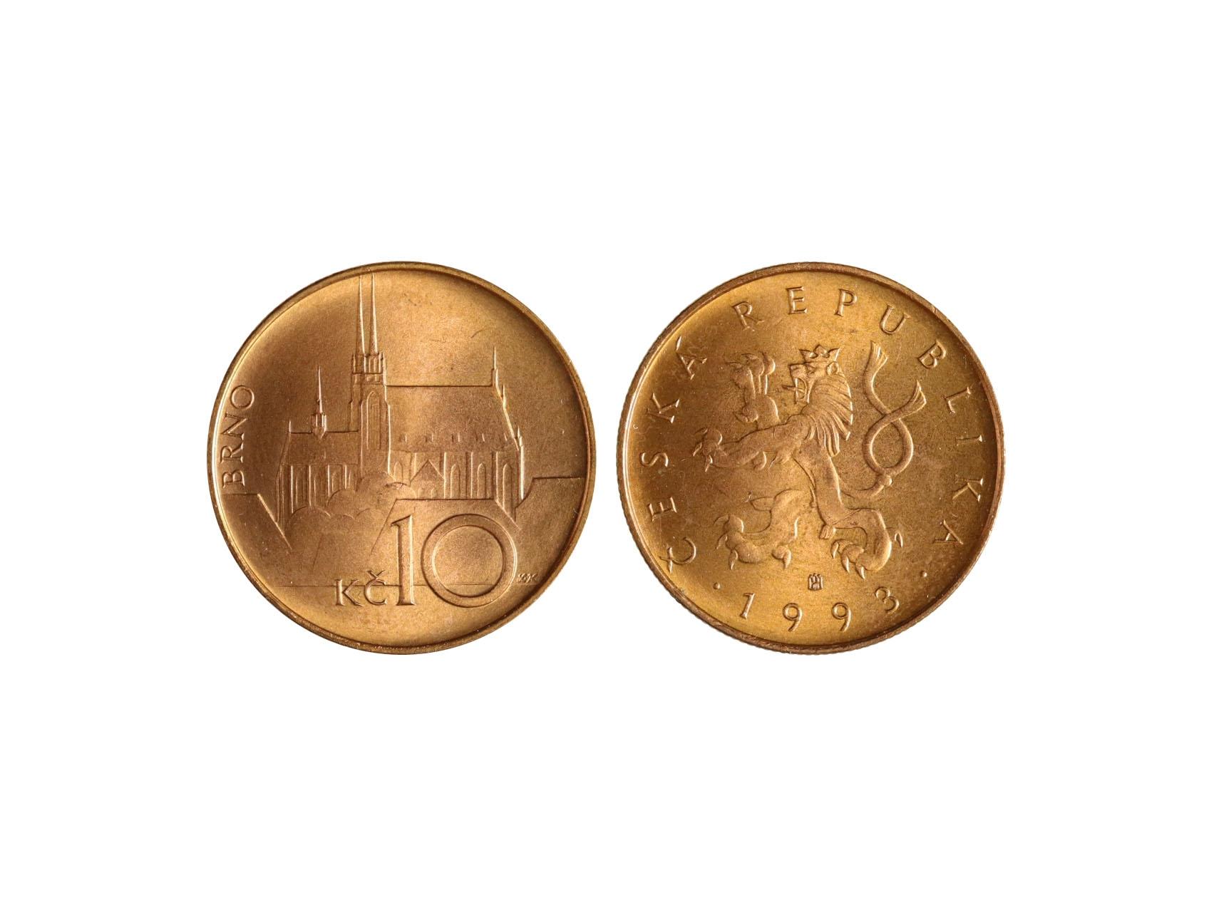 10 Kč 1993 varianta, reliéf rubu nižší, písmena Kč menší, účelový odražek, náklad 1000 ks, stav mince - nádherný stav, ražební lesk, potvrzení autentičnosti od JUDr. Moravce