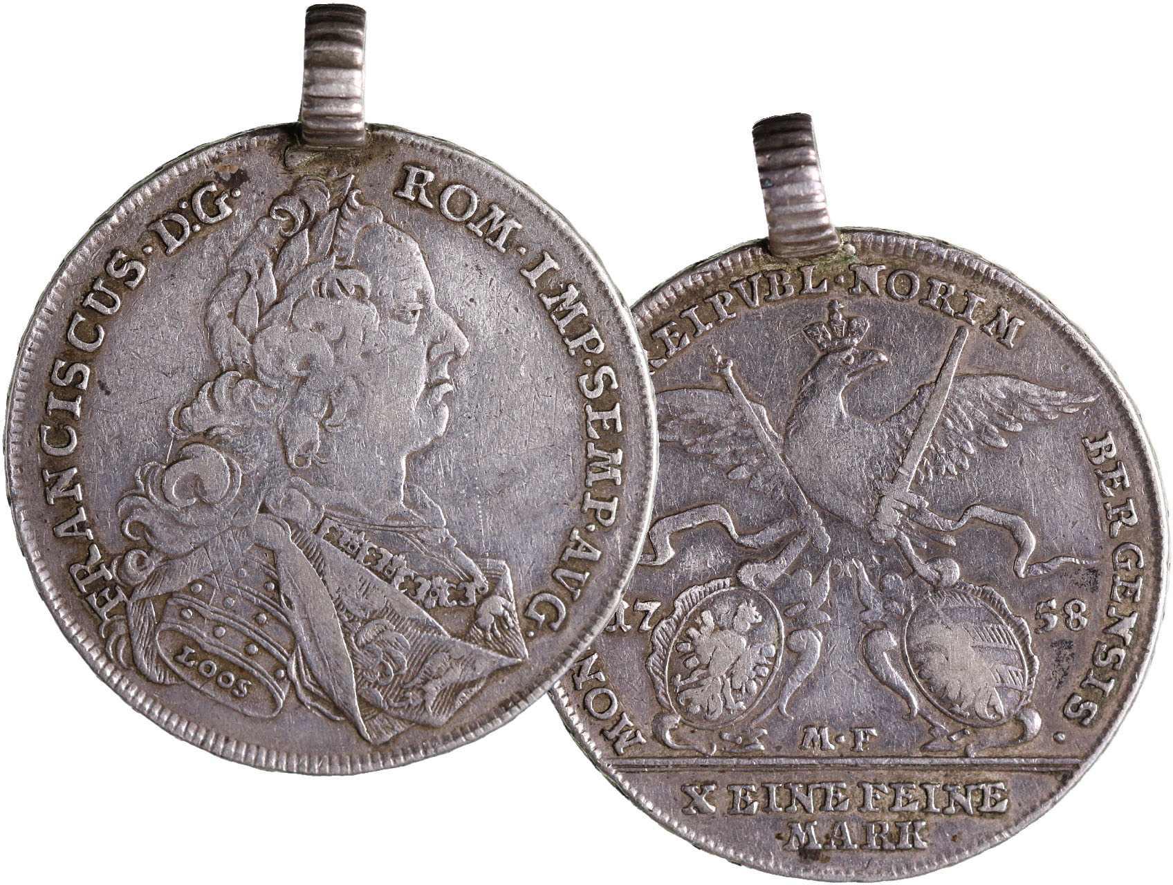 Norimberk - Tolar 1758 L-MF, KM 321, dobové očko