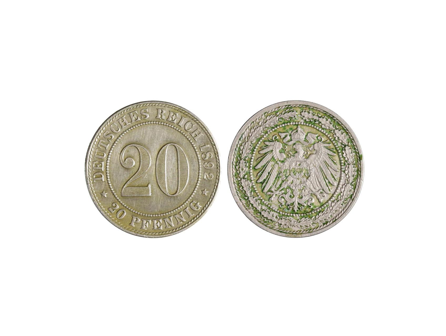 Císařství 1871-1918, Wilhelm II. 1888-1918 - 20 Pfennig 1892 J, KM 13