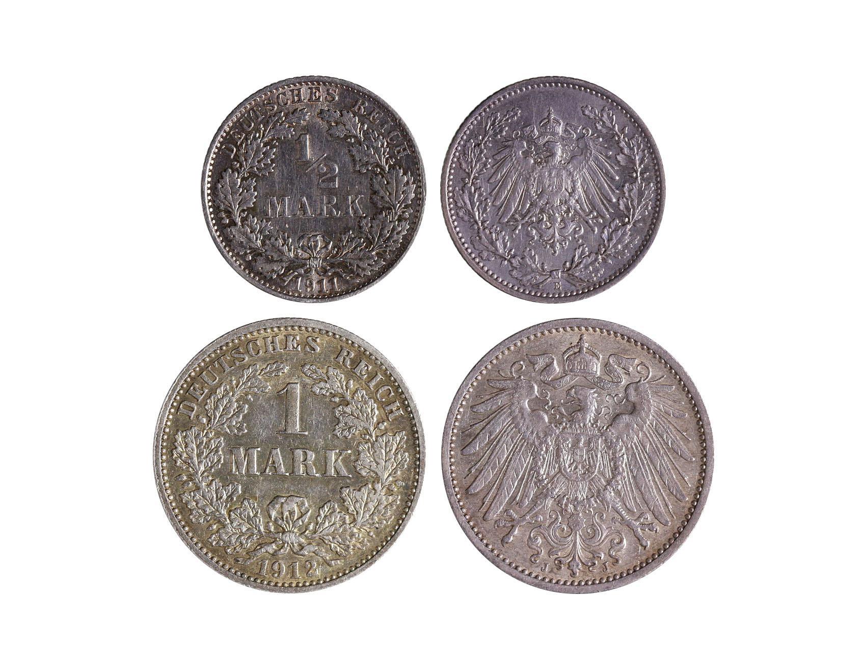 Císařství 1871-1918, Wilhelm II. 1888-1918 - 1/2 Marka 1911 E a 1 Marka 1912 J, KM 17, KM 14,