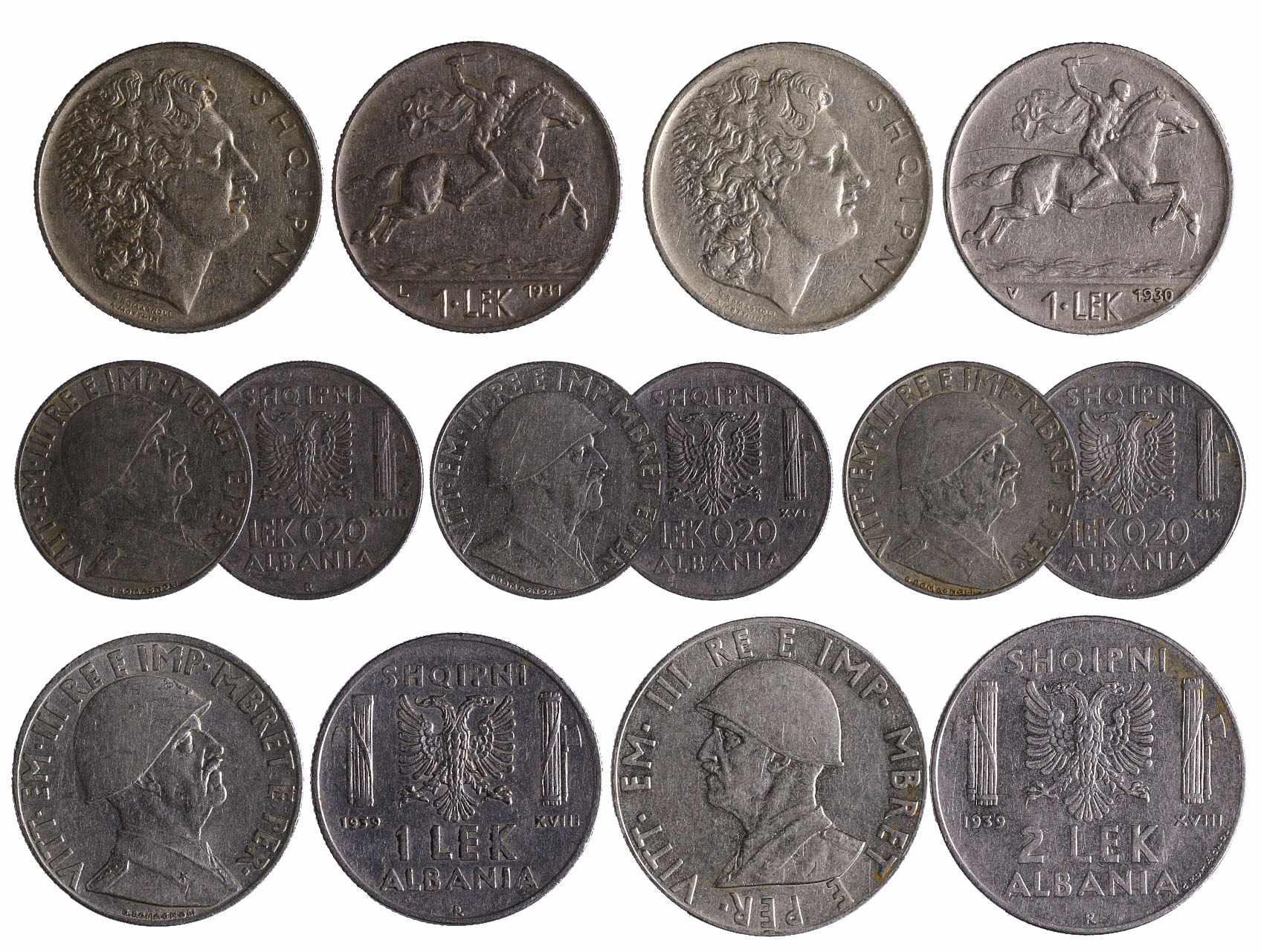 Albánie - 0,20 Lek 1939, 1940, 1941 a 1 Lek 1930, 1931, 1939 a 2 Lek 1939, celkem 7 ks.