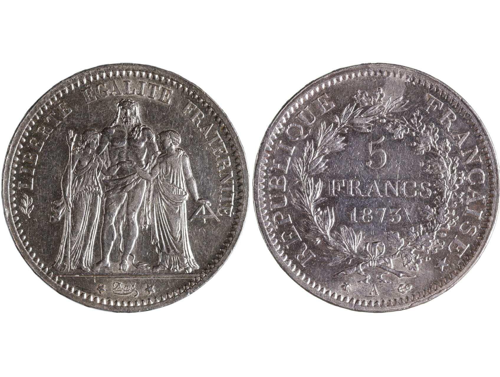 Francie republika 1870 - 5 Frank 1873 A, KM 820.1
