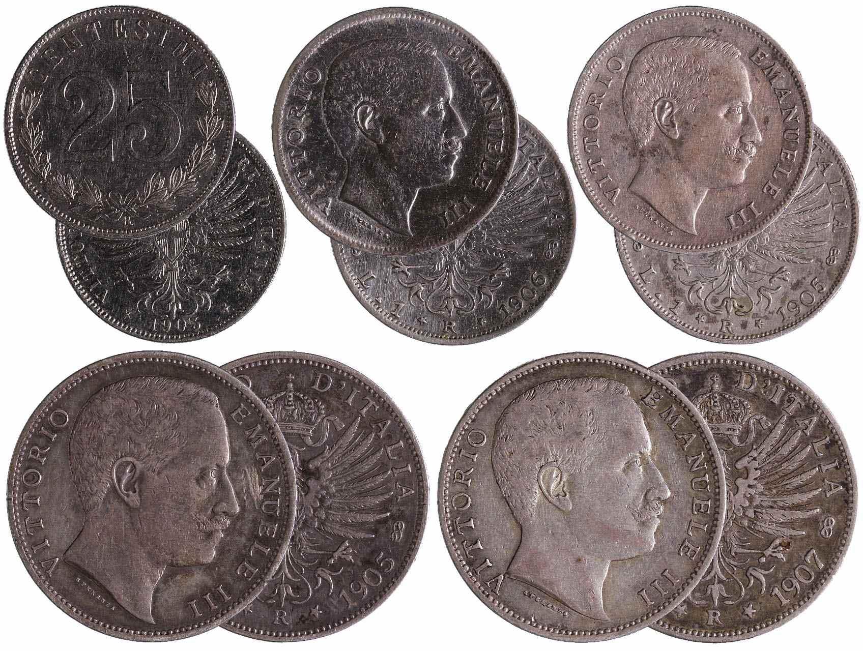 Itálie, Viktor Emanuel III. 1900-1946 - 25 Centisimi 1903 R, 1 Lira 1905 R, 1906 R, 2 Liry 1905 R a 1907 R, celkem 5 ks.