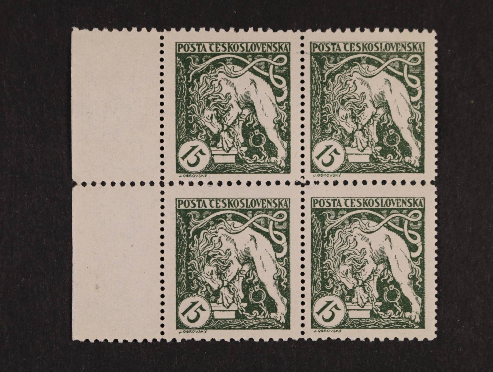 zn. č. 27 D ve čtyřbloku s levým okrajem, zk, Vrba