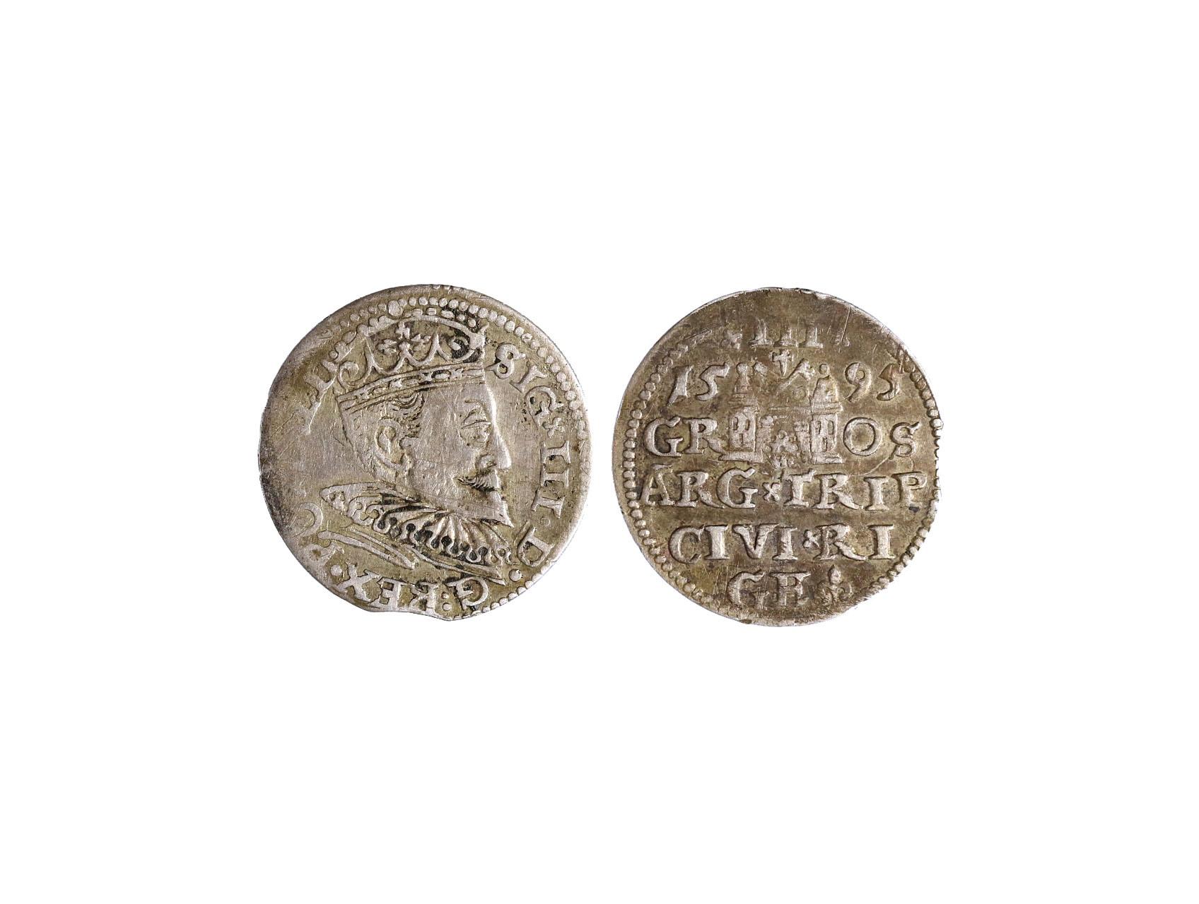 Polsko, Zikmund III. Vasa 1587-1632 - III. Groš 1595 Riga, Ko-8191