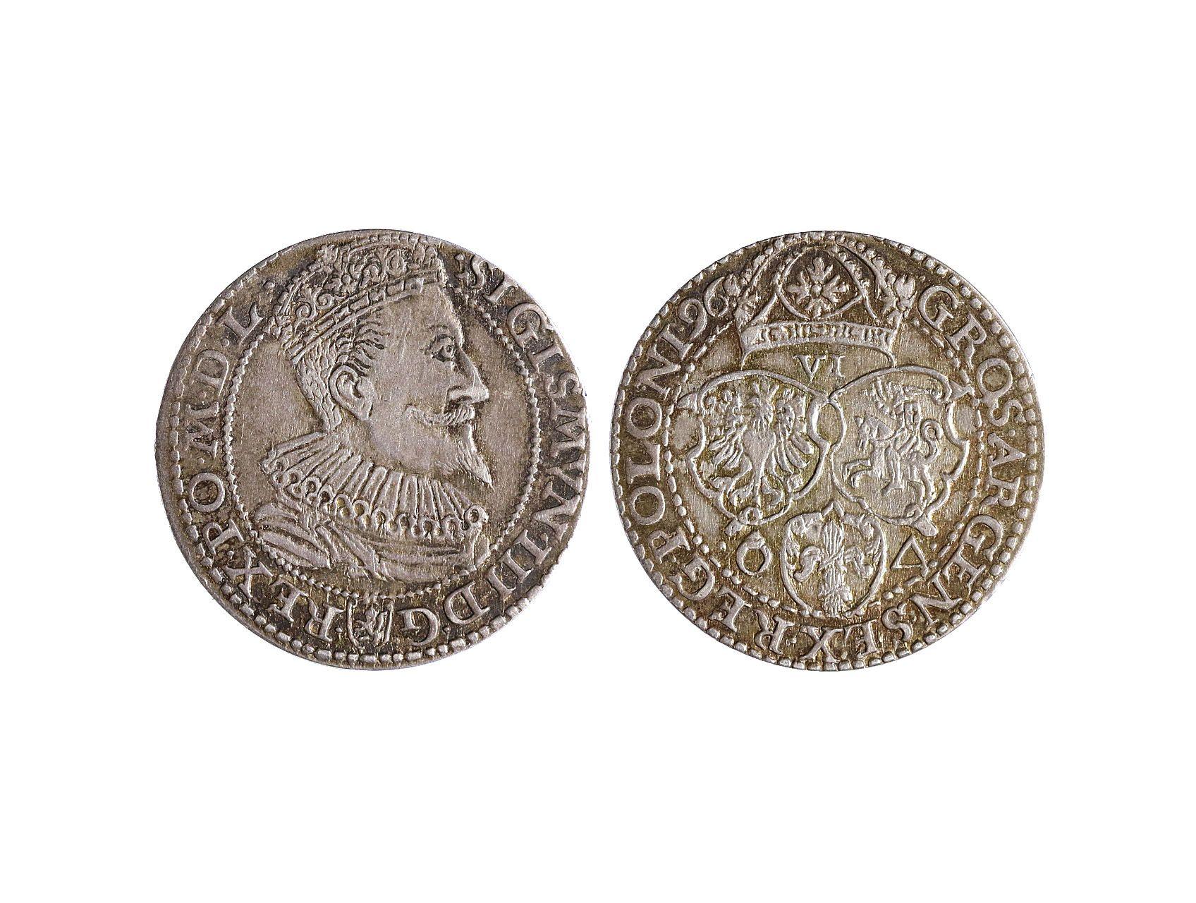 Polsko, Zikmund III. Vasa 1587-1632 - VI Groš 1596, malá hlava, Malbork, Ko-1240a, prohlý