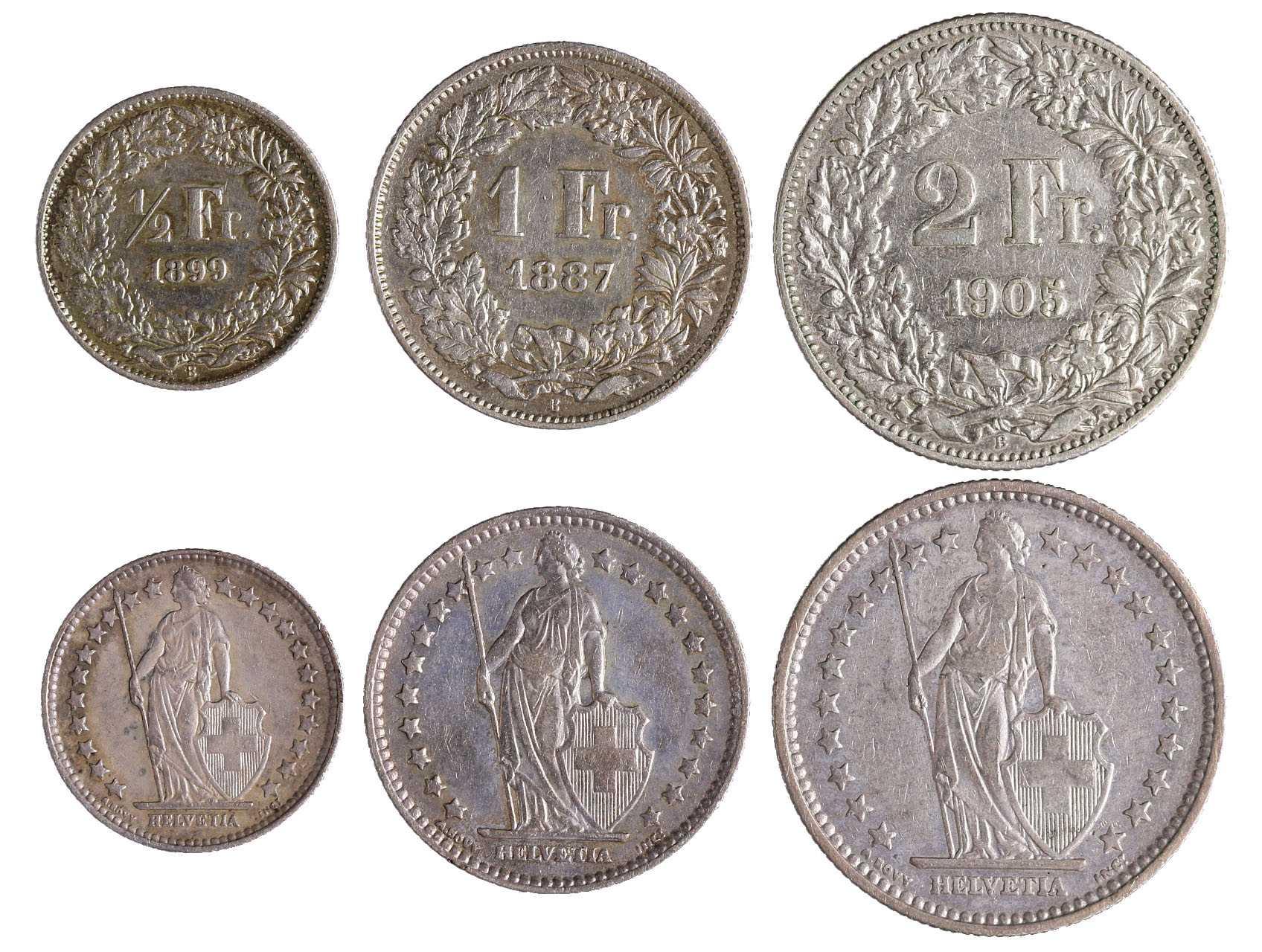 Švýcarsko - 1/2 Frank 1899 B, 1 Frank 1887 B a 2 Franky 1905 B, KM 23, 24, 21, celkem 3 ks.