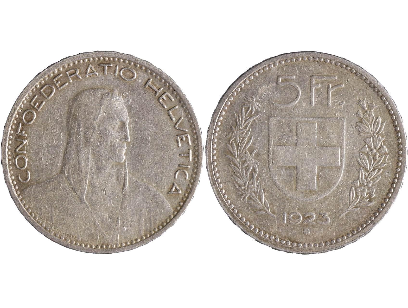 Švýcarsko - 5 Frank 1923 B, KM 37