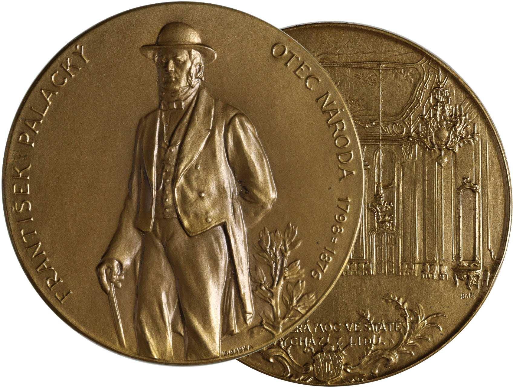 Babka Karel 1880-1953 - AE medaile František Palacký. Postava zleva, opis / Kroměřížský sněm. Bronz, 60 mm.