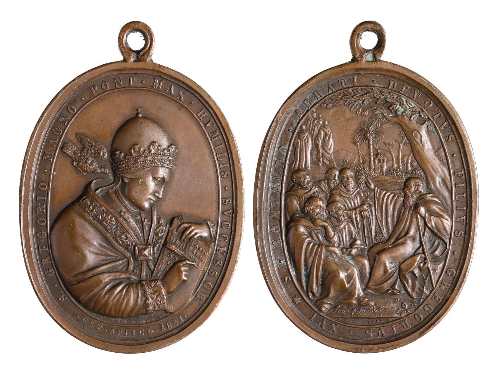 Cerbara Giuseppe 1770-1856 - AE pontifikační medaile Řehoře XVI. 1831, vlastím jménem Bartolomeo Alberto Cappellari 1765-1846. Portrét zprava, opis / sv. Romuald káže žákům, opis. Bronz 61 x 47 mm, původní ouško