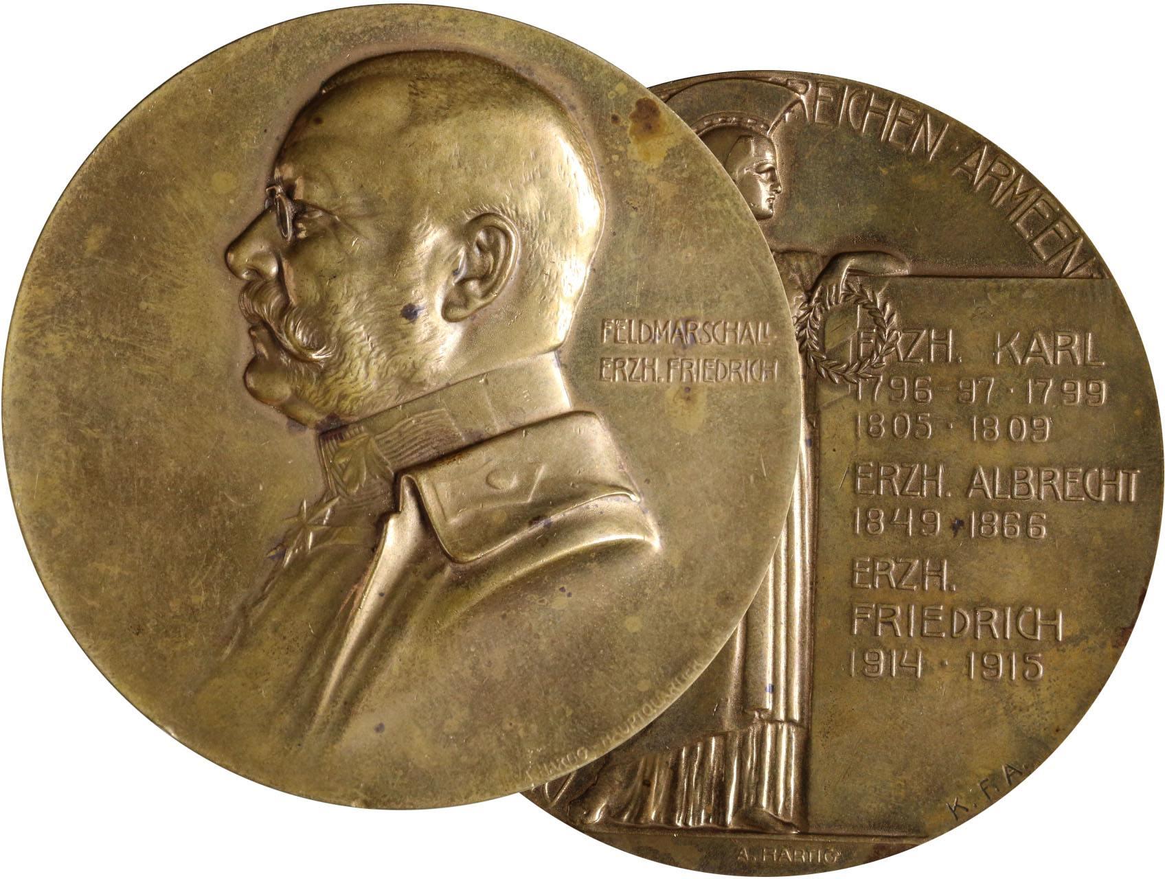 Hartig Arnold 1878-1972 - AE medaile 1915, polní maršál arcivévoda Friedrich, portrét zleva / antická postava, Minerva, text, opis, značeno K.F.A. (Kriegsfürsorgeamt). Bronz, 65 mm.