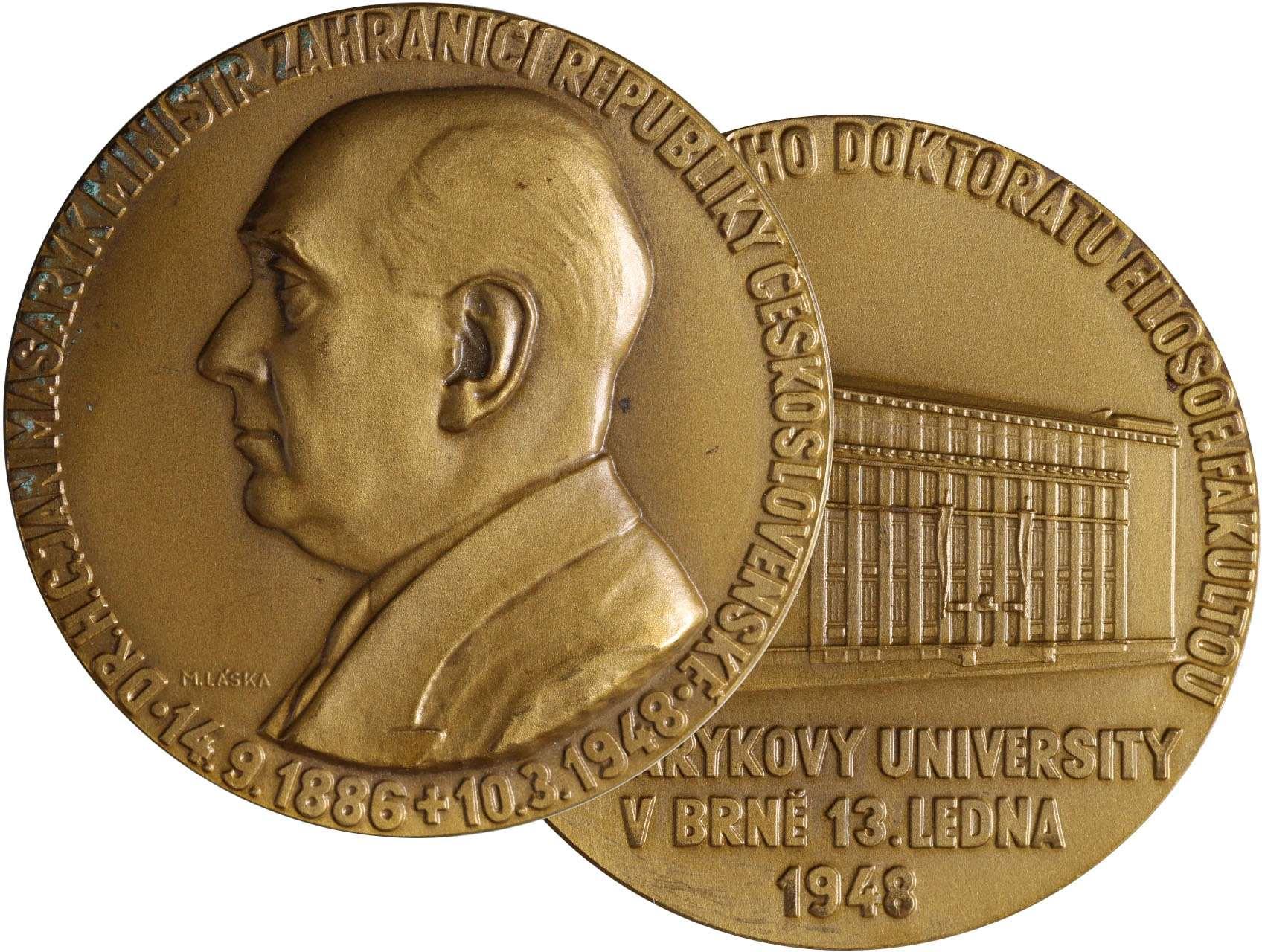Láska Miloš 1917-1984 - AE Medaile 1948, Jan Masaryk, na paměť udělení čestného doktorátu filosofickou fakultou Masyrykovy university v Brně, bronz 60 mm