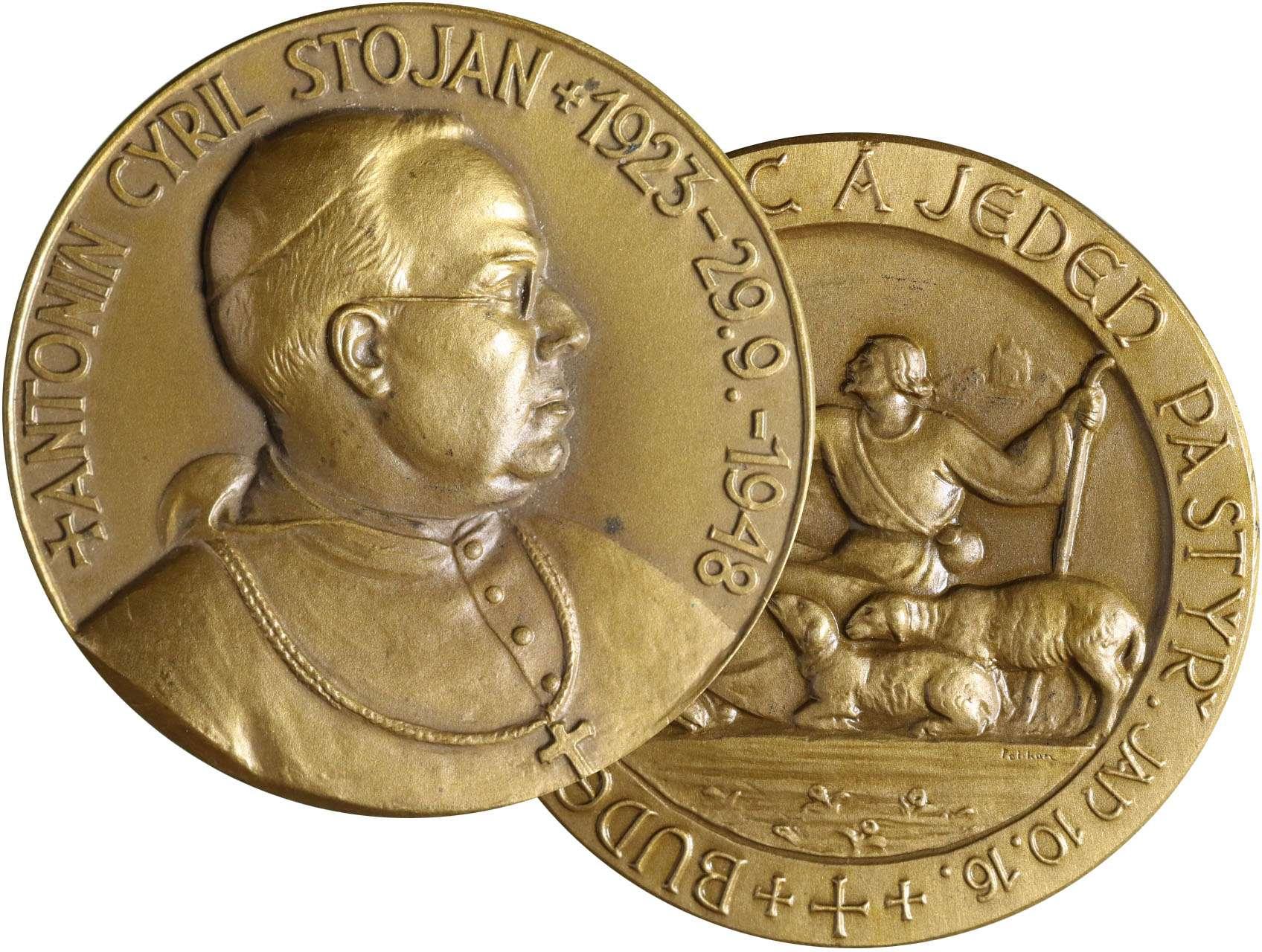Pelikán Julius 1887-1969 - AE Medaile 1948 na 25 let od úmrtí Antonína Cyrila Stojana.Poprsí zleva, opis / pastýř s ovcemi, opis. Bronz, 50 mm