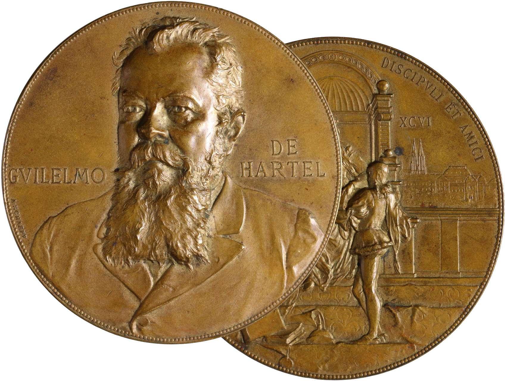 Scharff Anton Karl Rudolf 1845-1903 - AE medaile 1896 Guilelmus de Hartel, (byl profesorem klasické filologie, rektorem Vídeňské univerzity a ředitel dvorní knihovny. V letech 1900-1905 byl ministrem kultury a školství.) Bronz 59 mm