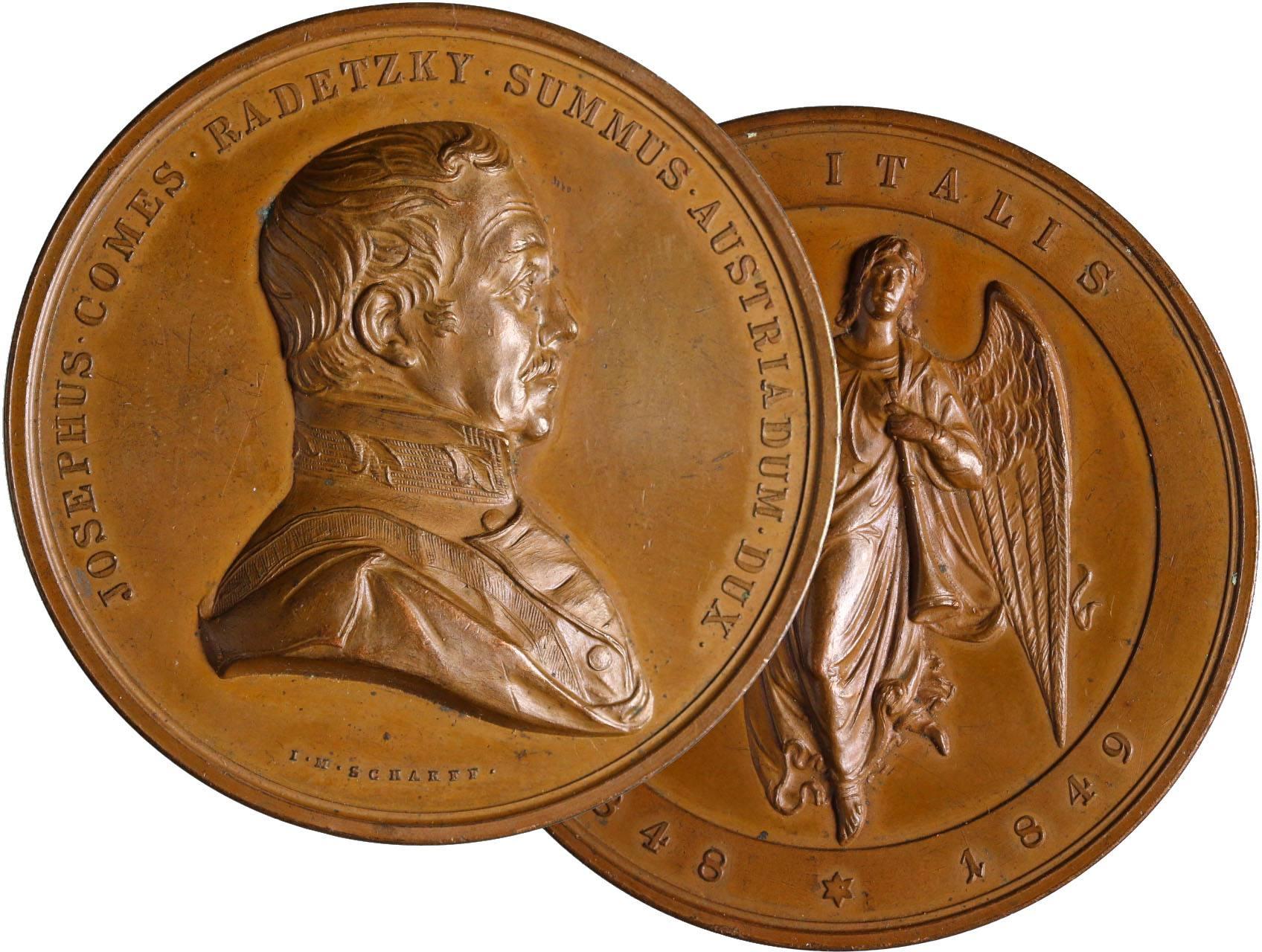 Scharff Johan Michael 1806-1855 - AE Medaile 1849, Poprsí Josefa Radeckého zprava, opis / Anděl s věncem a trubkou čelně, opis. Bronz 58 mm, dr. hr.