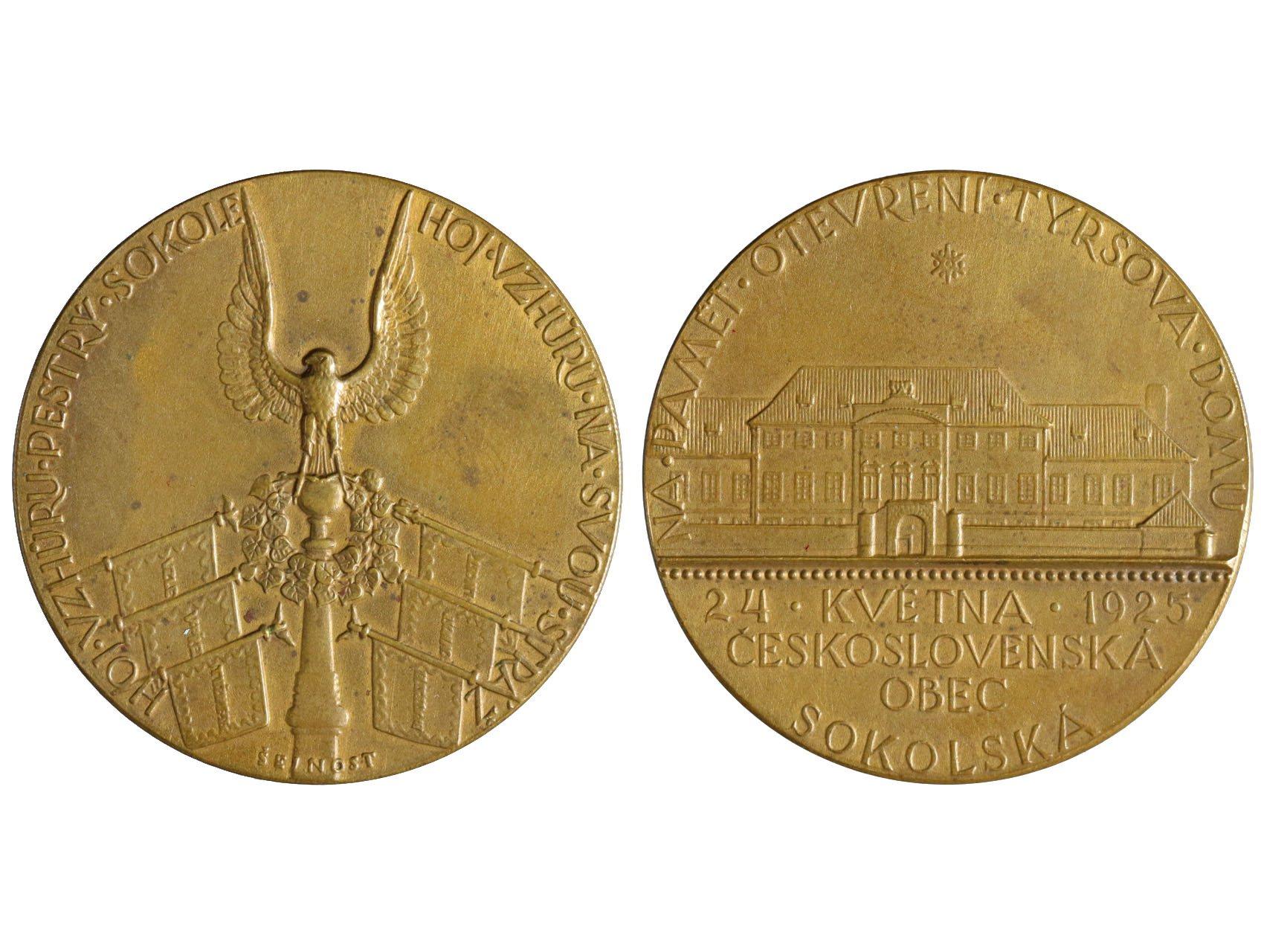 Šejnost Josef 1878-1941 - AE medaile 1925 ČS obec sokolská, Otevření Tyršova domu v Praze. Bronz, 36,5 mm, Bo-121a, skvrnky