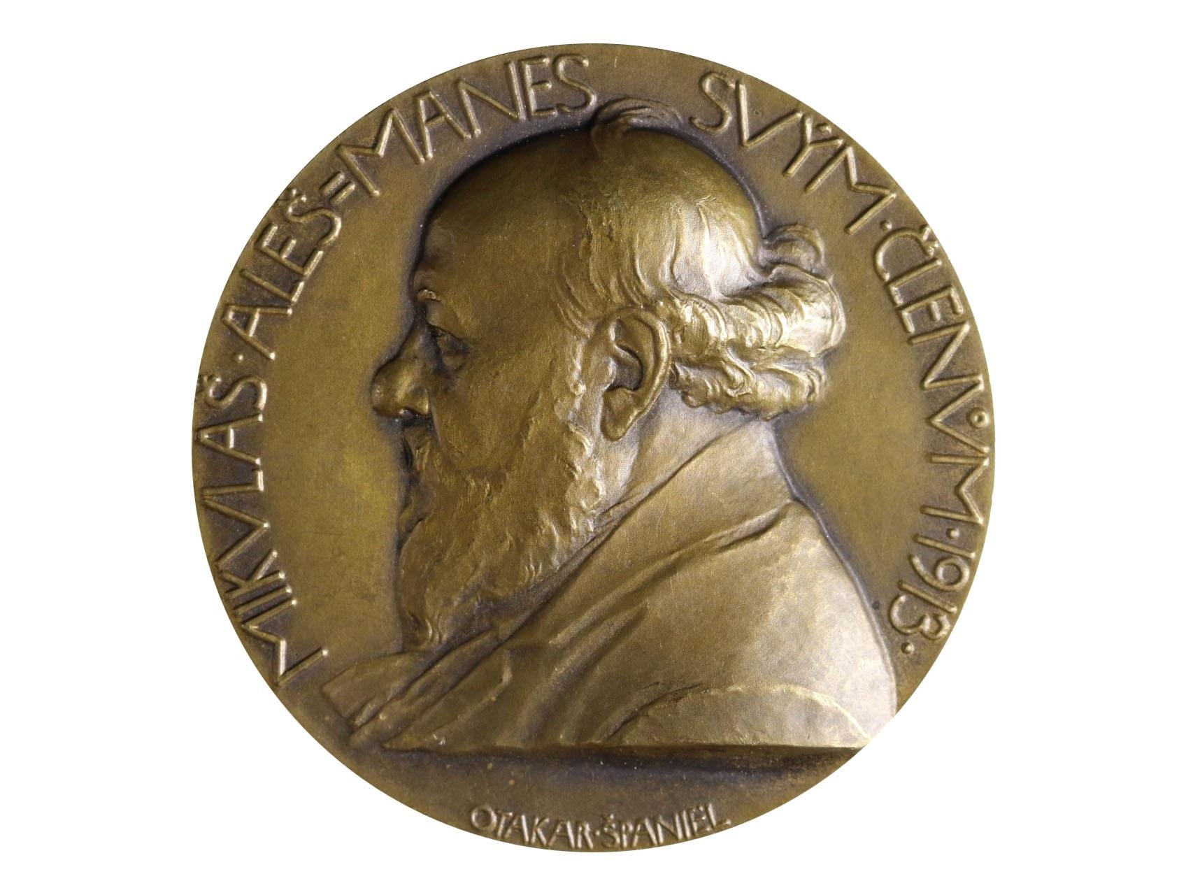 Španiel Otakar 1881-1955 - AE jednostranná medaile Mikoláš Aleš, Mánes svým členům, 1913. Bronz 51 mm