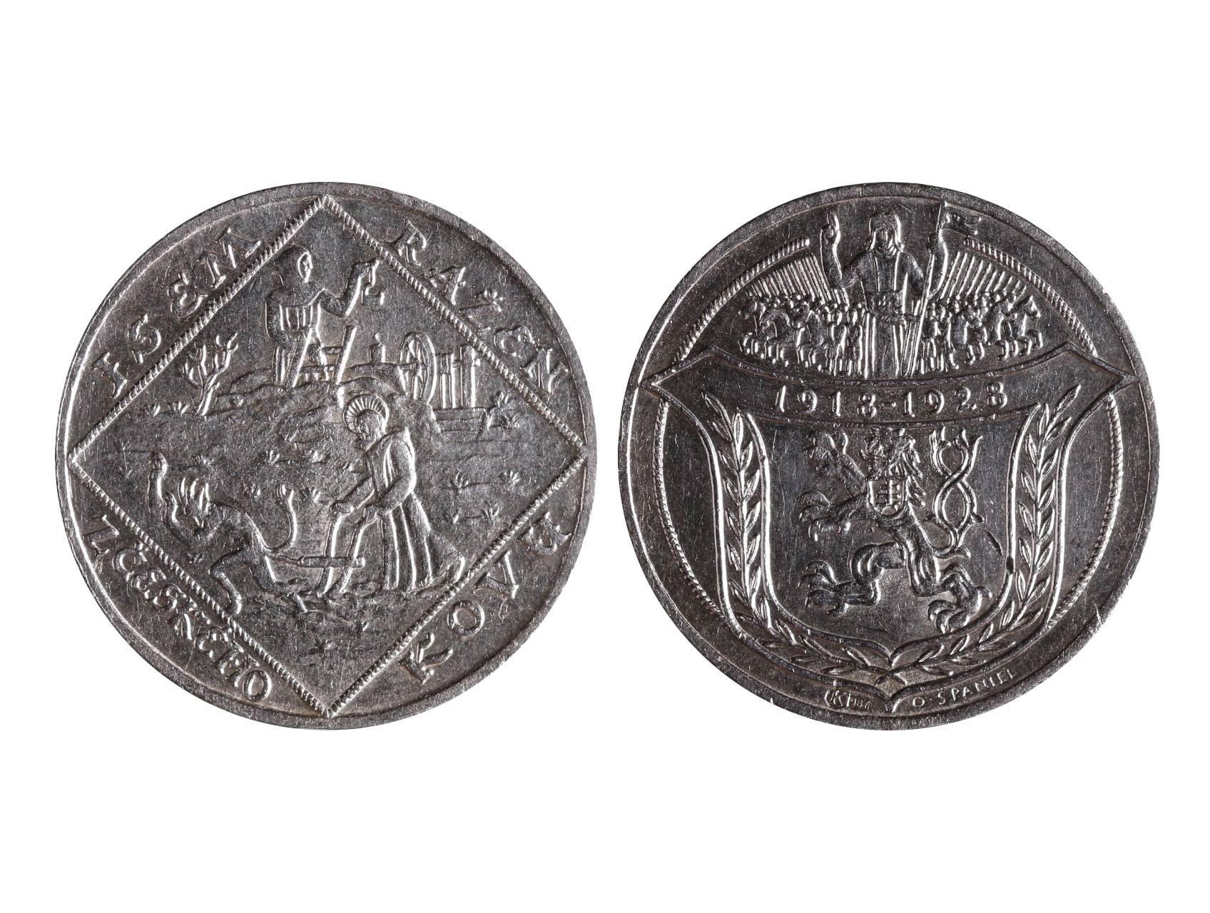 Španiel Otakar 1881-1955 - AR medaile Jsem ražen z českého kovu 1928, Ag 987, 34 mm, 20 g