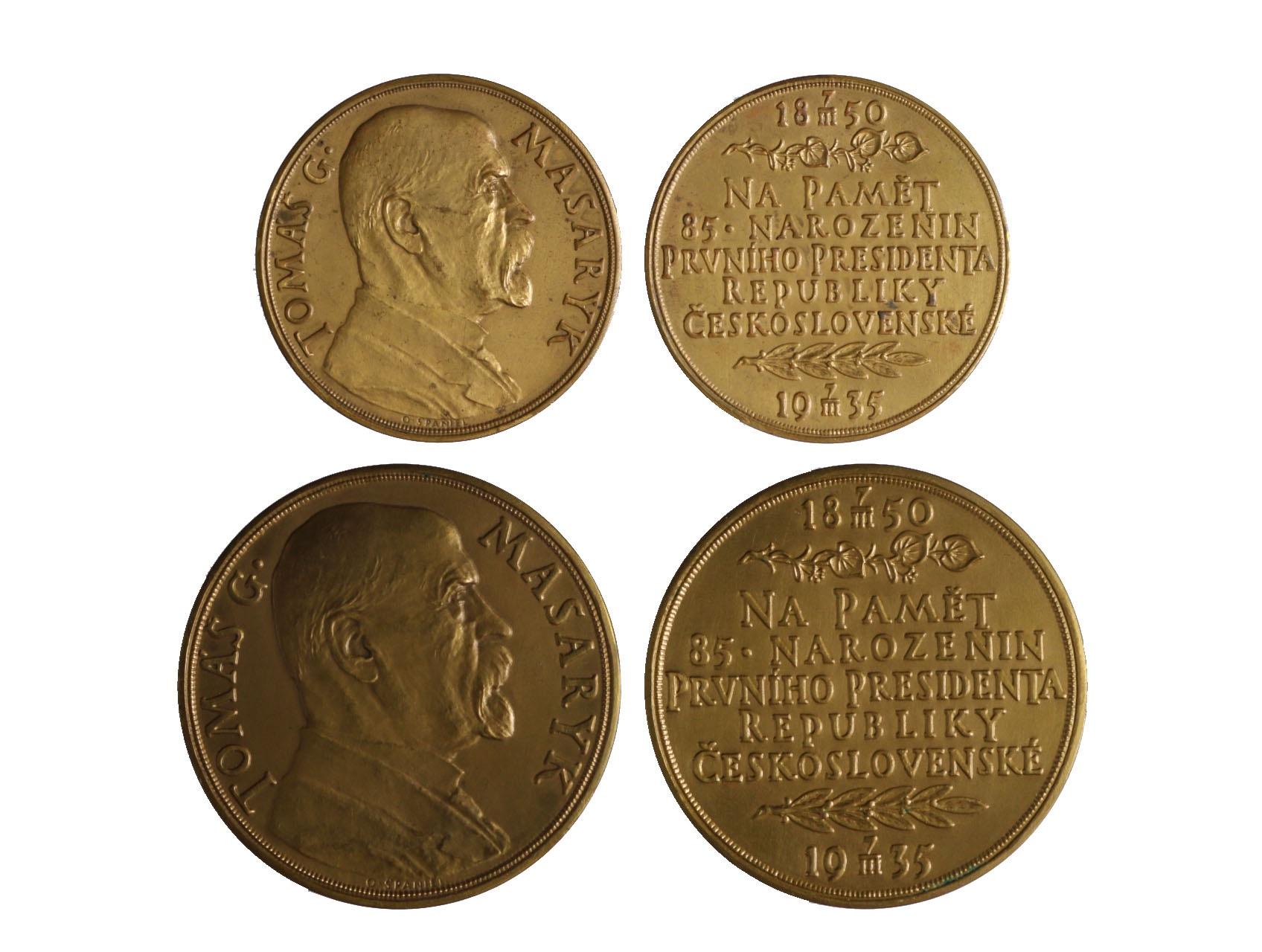 Španiel Otakar 1881-1955 - 2 ks. Medailí na paměť 85. narozenin prvního presidenta Republiky Československé, AE medaile průměr 50 mm a 60 mm,