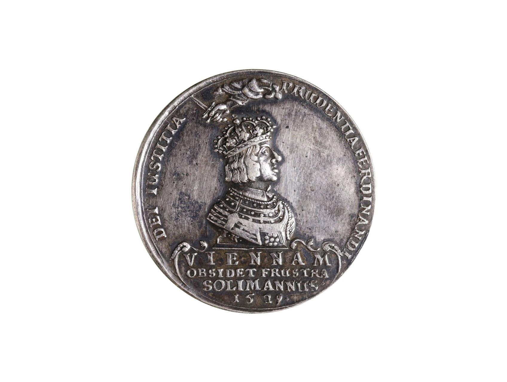 Osobnosti - Ferdinand I. a Leopold 1640-1705, AR jednostranná medaile 1529 na osvobození Vídně před Turky