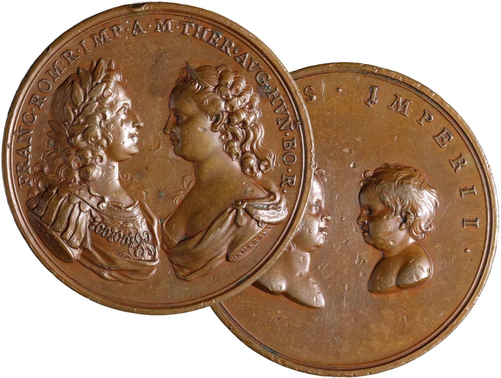 Osobnosti - Marie Terezie 1740-1780, AE medaile 1745 na narození Karla, pr. 46 mm, dr. hr.