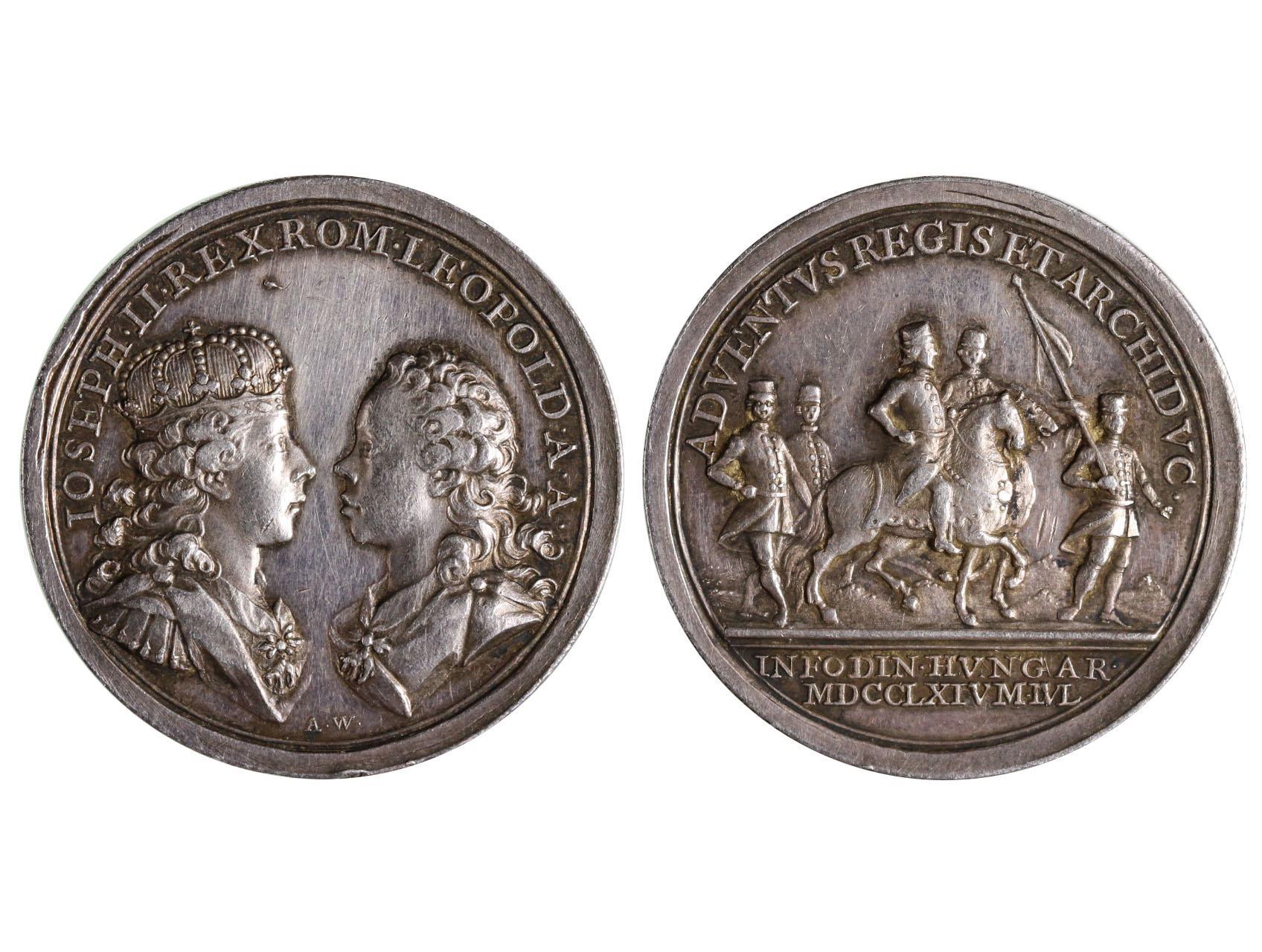 Osobnosti - Marie Terezie 1740-1780, AR medaile 1764 návštěva Josefa a Leopolda v Kremnici, dr. škr.