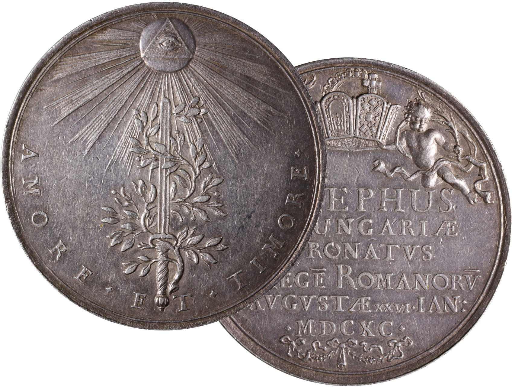 Osobnosti - Josef II. 1780-1790, AR medaile o váze 1 1/2 Tolaru na korunovaci v Ausburku 26.1.1690, 39,12g