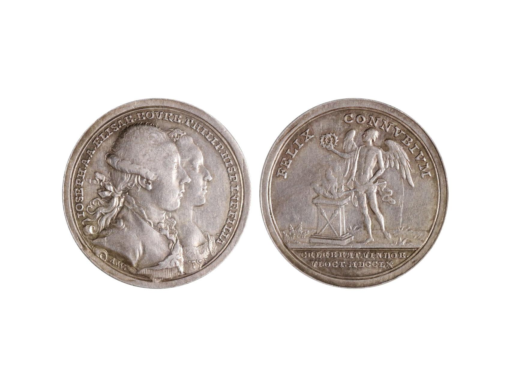 Osobnosti - Josef II. 1780-1790, AR medaile 1760 na svatbu Josefa a Isabely ve Vídni