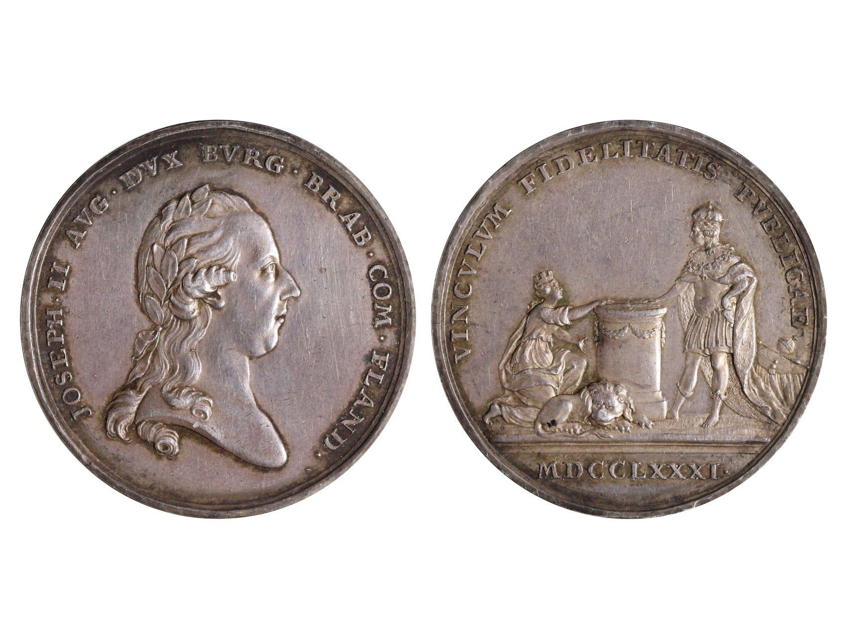 Osobnosti - Josef II. 1780-1790, AR medaile 1781, Holdování v Holandsku, Berckel, Montenuovo 2139