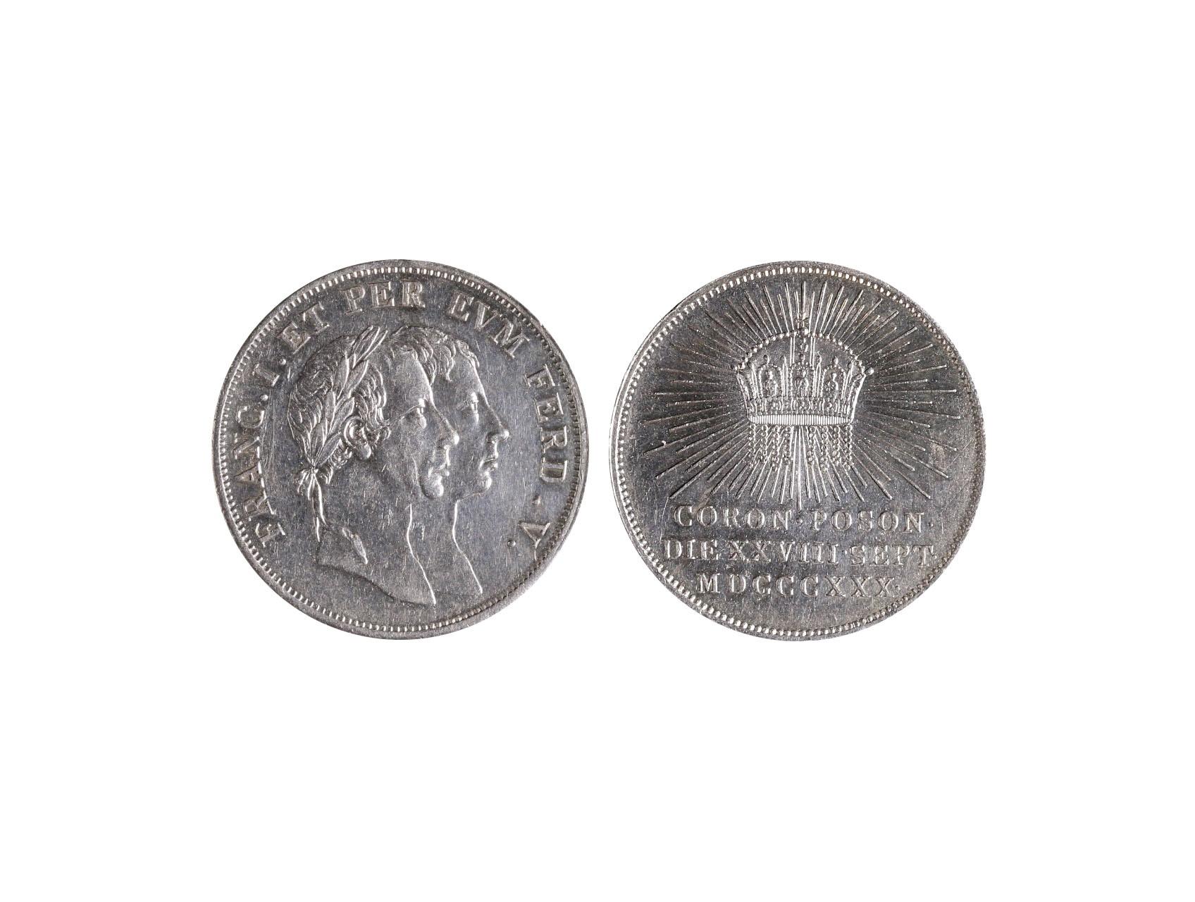 Osobnosti - Ferdinand V. 1793-1848, AR žeton 1830 na korunovaci v Bratislavě, Mont. 2516