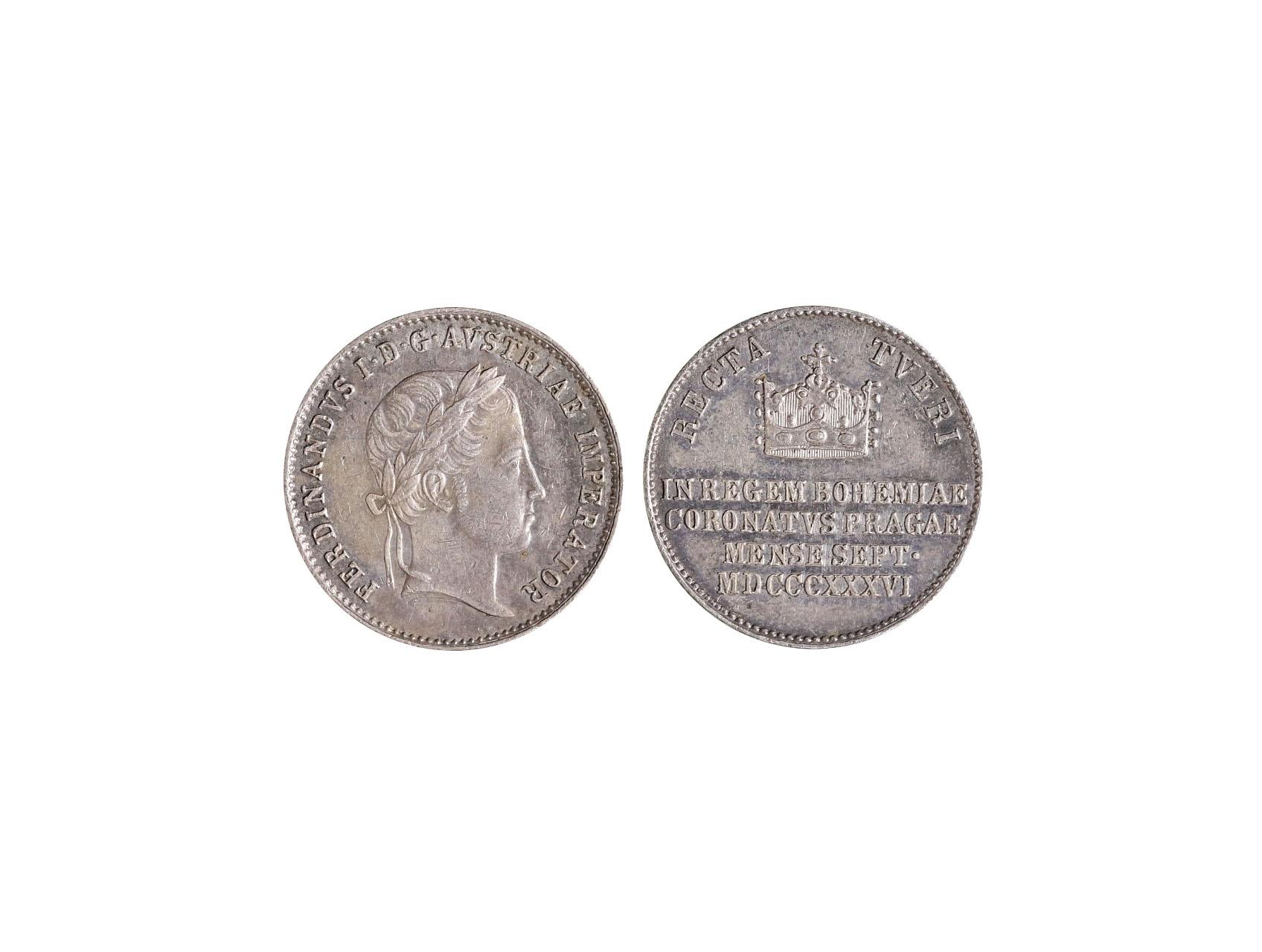 Osobnosti - Ferdinand V. 1793-1848, AR žeton 1836 na korunovaci v Praze
