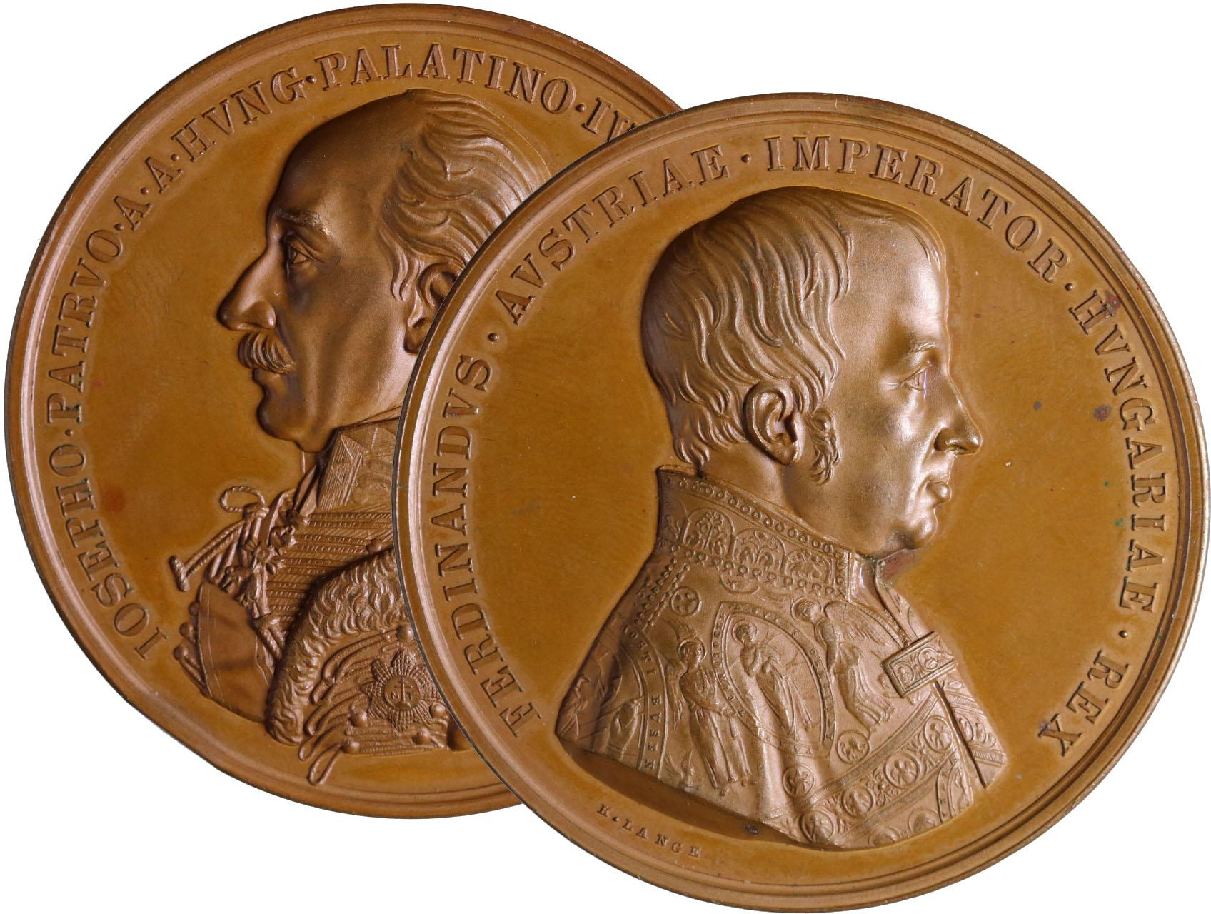 Osobnosti - Ferdinand V. 1793-1848, AE Medaile 1846 - K 50. výročí arcivévody Josefa jako uherského palatina. Poprsí císaře zprava, opis / poprsí arcivévody zleva, opis. Značeno K. Lange, bronz, 54 mm, naražená hrana