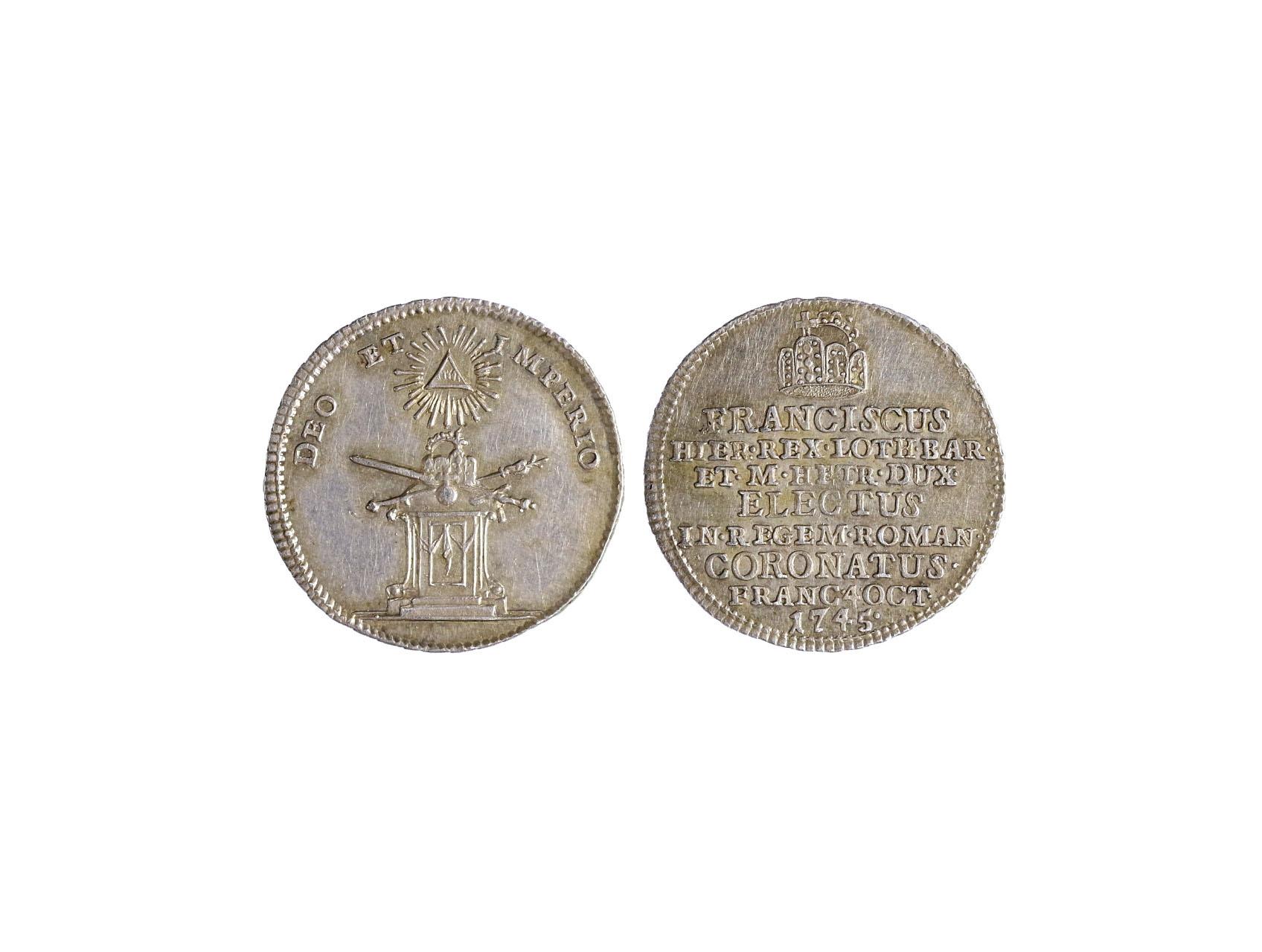 Osobnosti - František I. Šťepán 1745-1765 - AR Malý žeton 1775 na korunovaci ve Frankfurtu n. M.