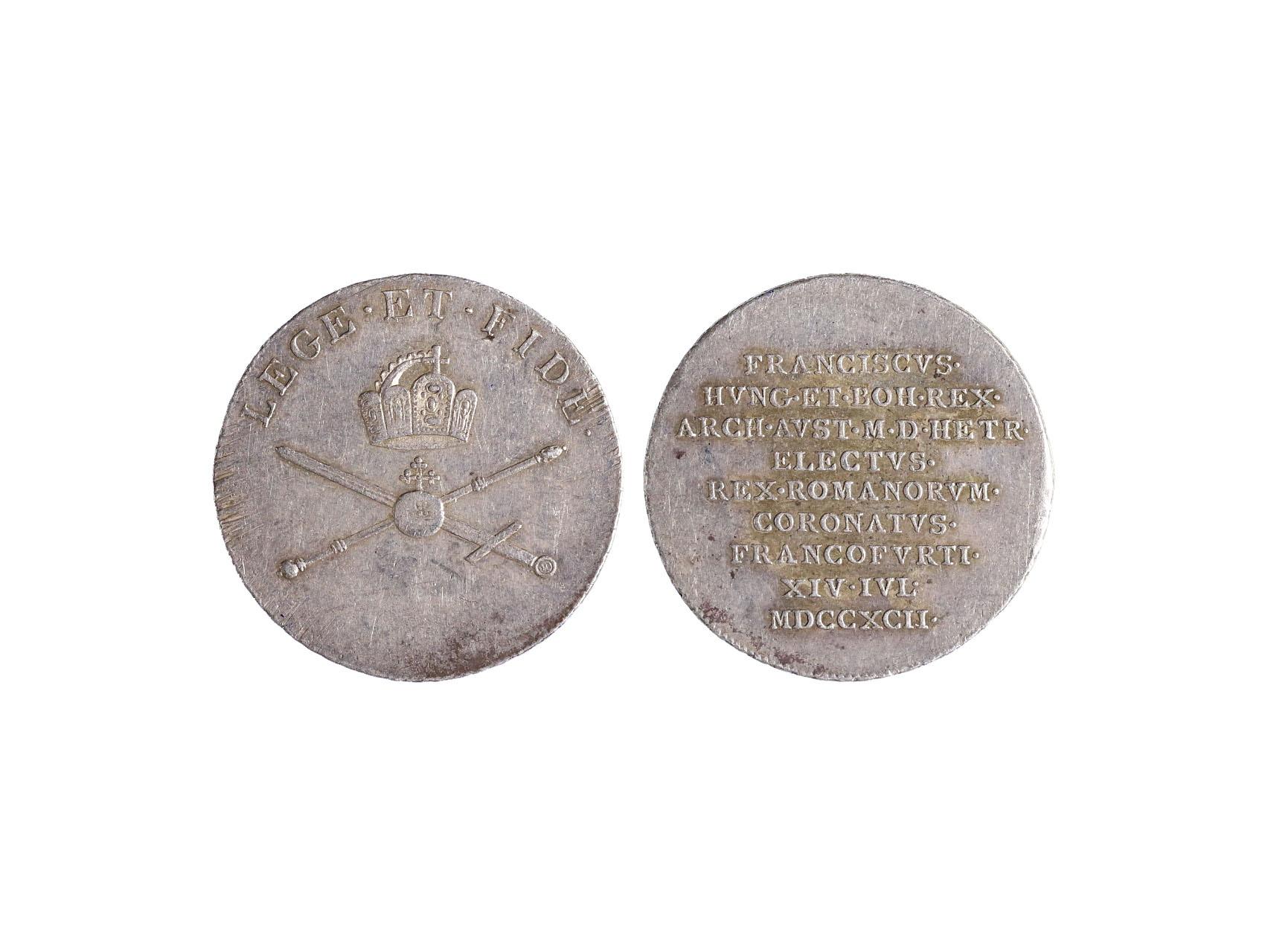 Osobnosti - František I. 1792-1835 - AR žeton 1792 na korunovaci ve Frankfurtu n. M