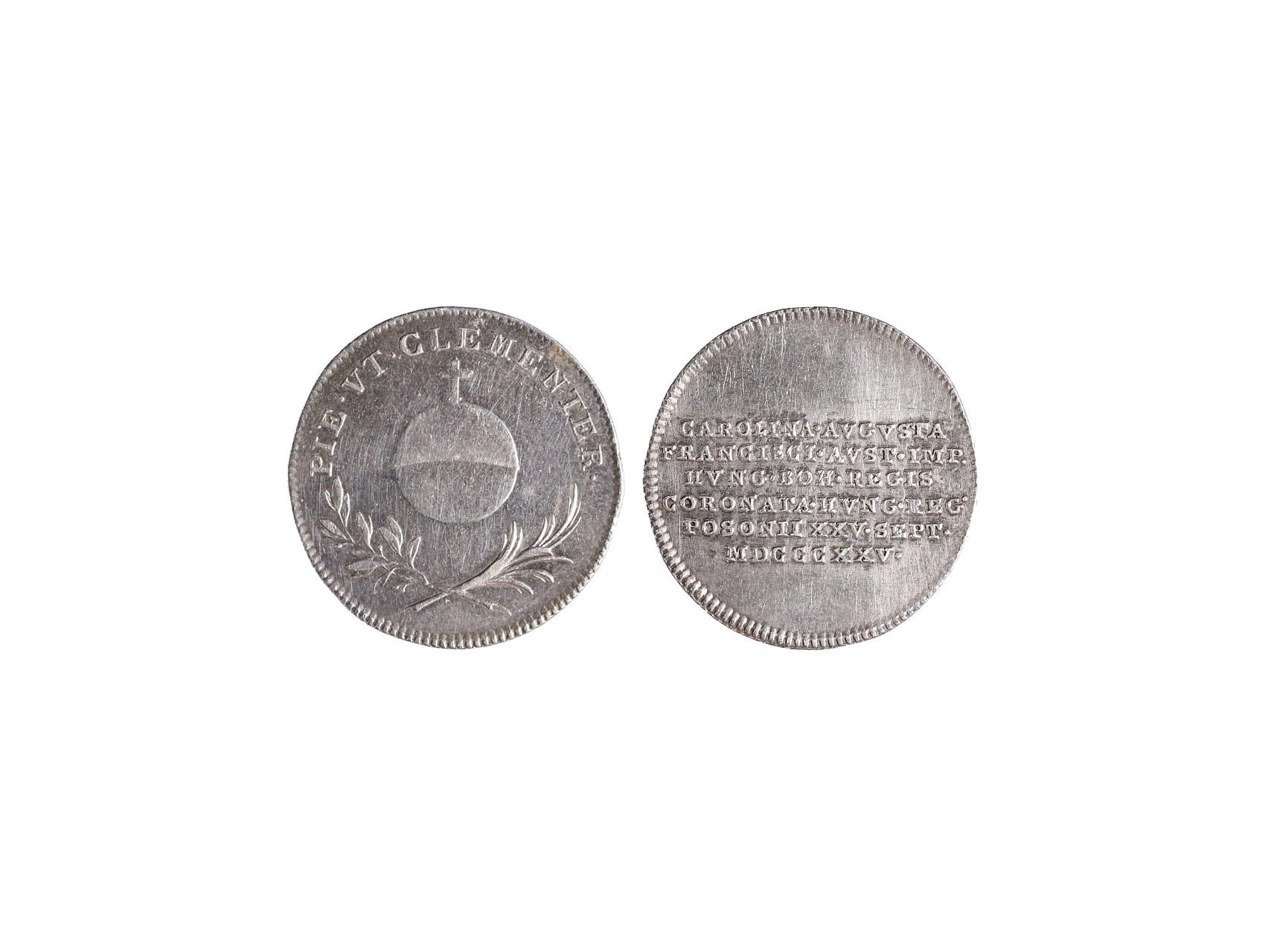 Osobnosti - František I. 1792-1835 - AR Malý žeton 1825 na maďarskou korunovaci v Bratislavě, Mont. 2499