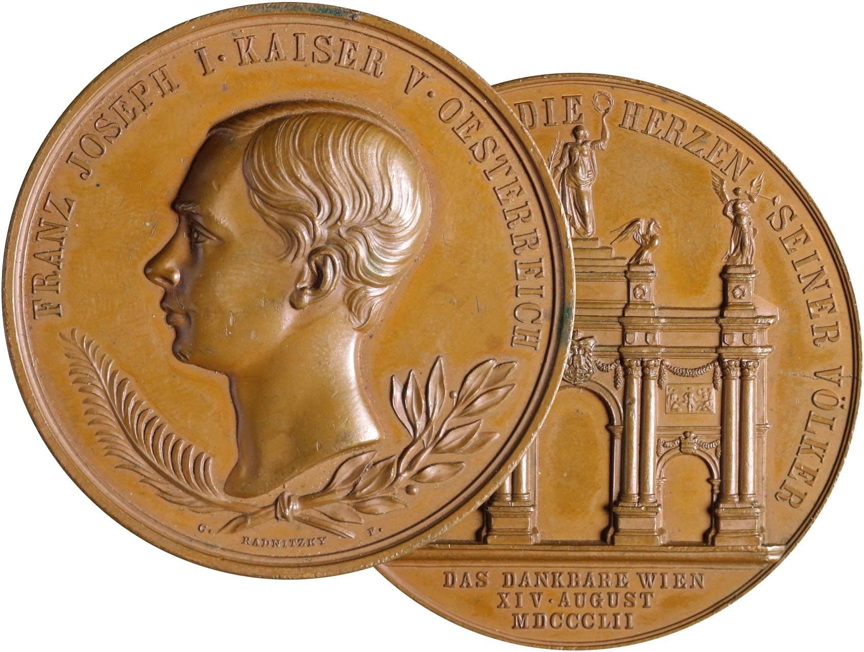 Osobnosti - František Josef I. 1830-1916, AE medaile na návrat císaře do Vídně 1852 - hlava zleva, ratolesti, opis / vítězný oblouk, opis a nápis, značeno Radnitzky