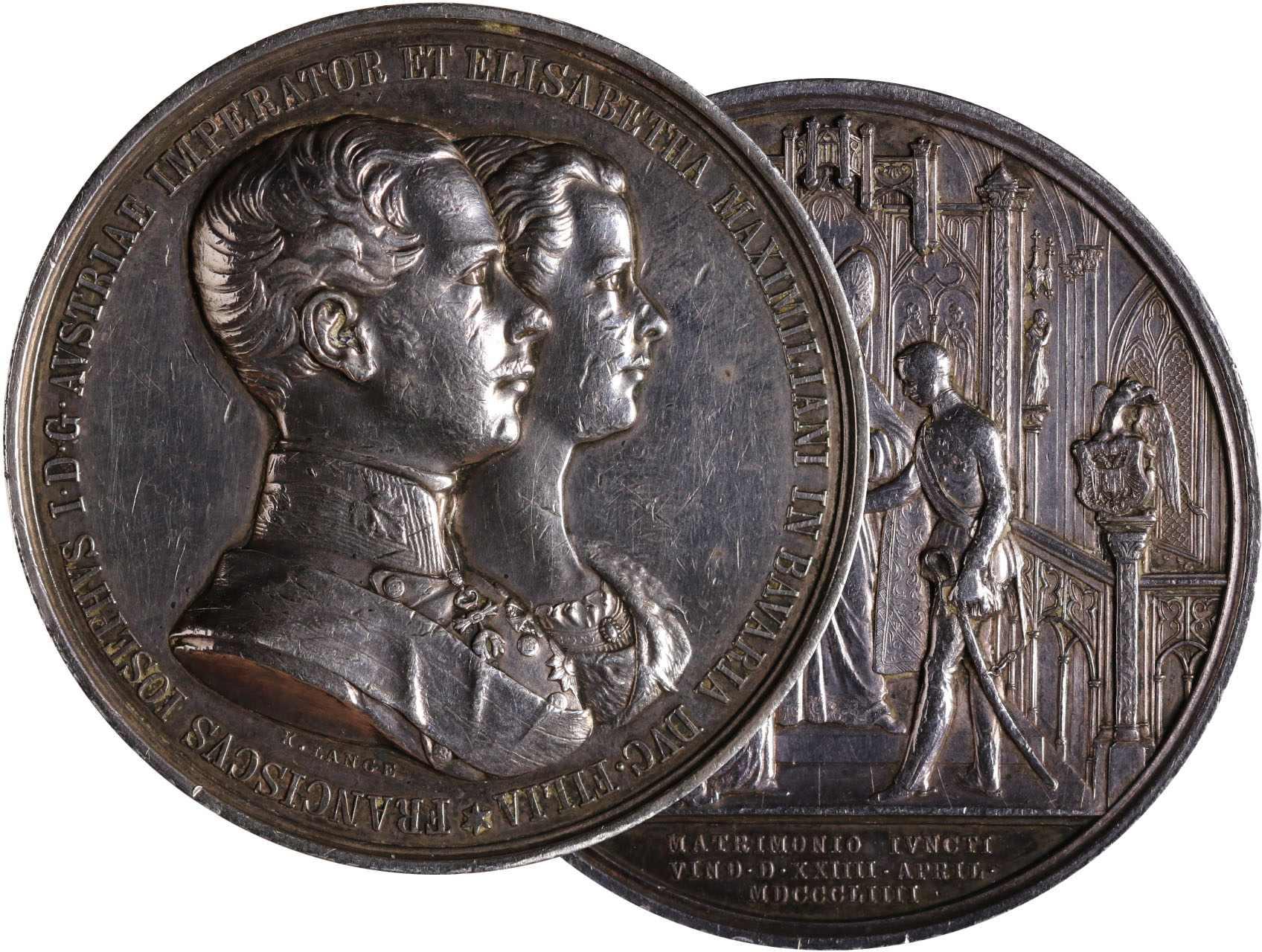 Osobnosti - František Josef I. 1830-1916, AR Svatební medaile 1854 F.J.I., 56 mm, 79,93 g, sig.Lange, Hauser 297