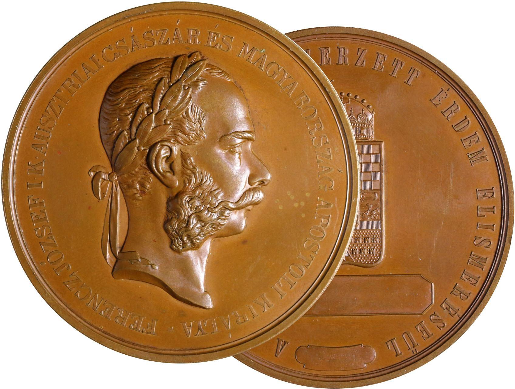 Osobnosti - František Josef I. 1830-1916, AE medaile za civilní zásluhy v hospodaření, J.Tautenhayn, maďarský opis, pr. 63 mm