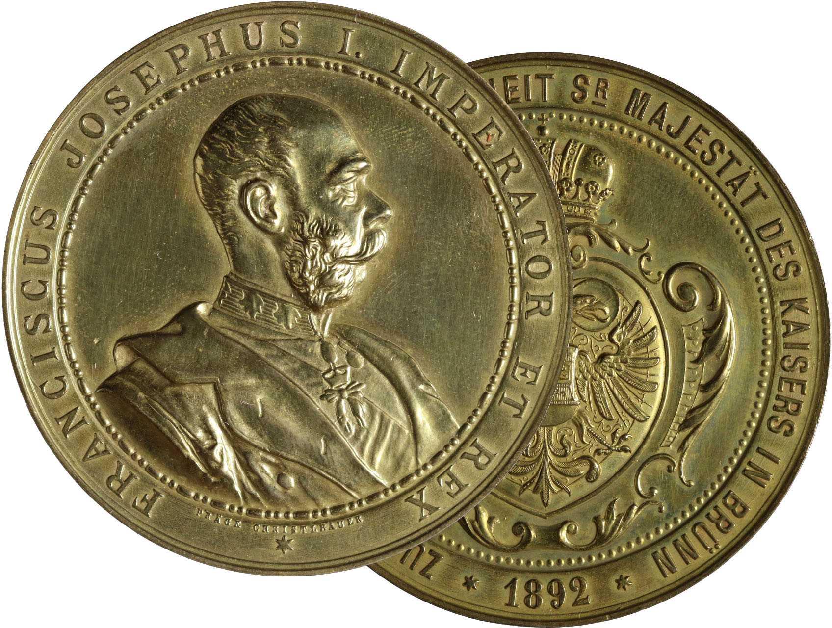 Osobnosti - František Josef I. 1830-1916, AE medaile 1892, na návštěvu Jeho Veličenstva v Brně. Pozl. bronz 43 mm, značeno J. Christlbauer