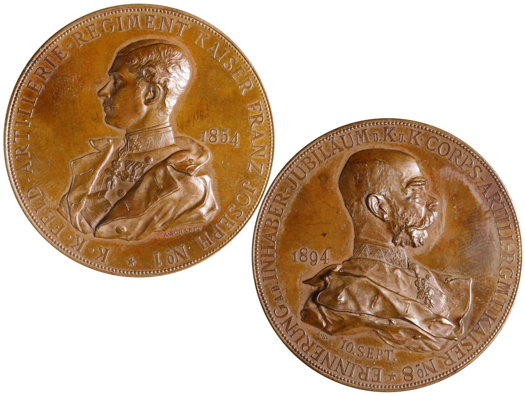 Osobnosti - František Josef I. 1830-1916, AE medaile, F.J.I. 1854 jako majitel děl. pluku č.1 / 1894 jako majitel děl. pluku č. 8. Značeno A. Scharff, bronz 39 mm