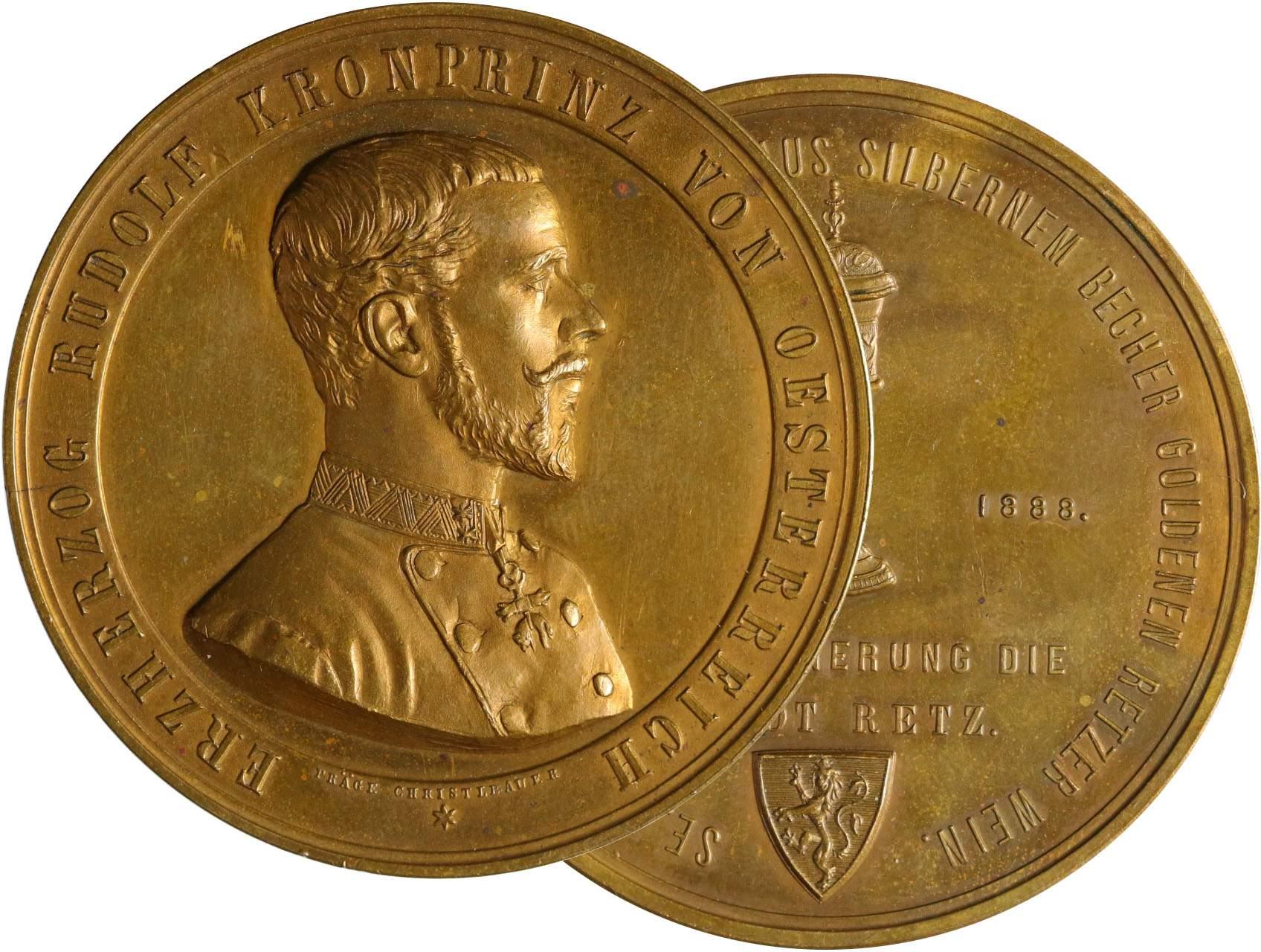 Osobnosti - Rudolf Habsbursko-Lotrinský 1858-1889, AE medaile na návštěvu Retzu 18. duben 1888, poprsí zprava, opis/pohár, znak, opis, značeno PRÄGE CHRISTLBAUER, bronz, 54 mm