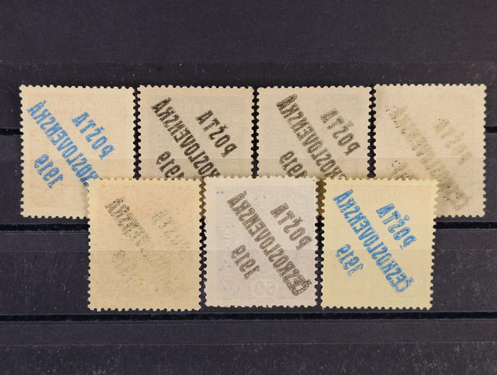 sestava zn. č. 35, 37 (typ I + typ II), 38 (typ I + typ II), 44, 47, vše s obtiskem přetisku, kat. cena 1300 Kč
